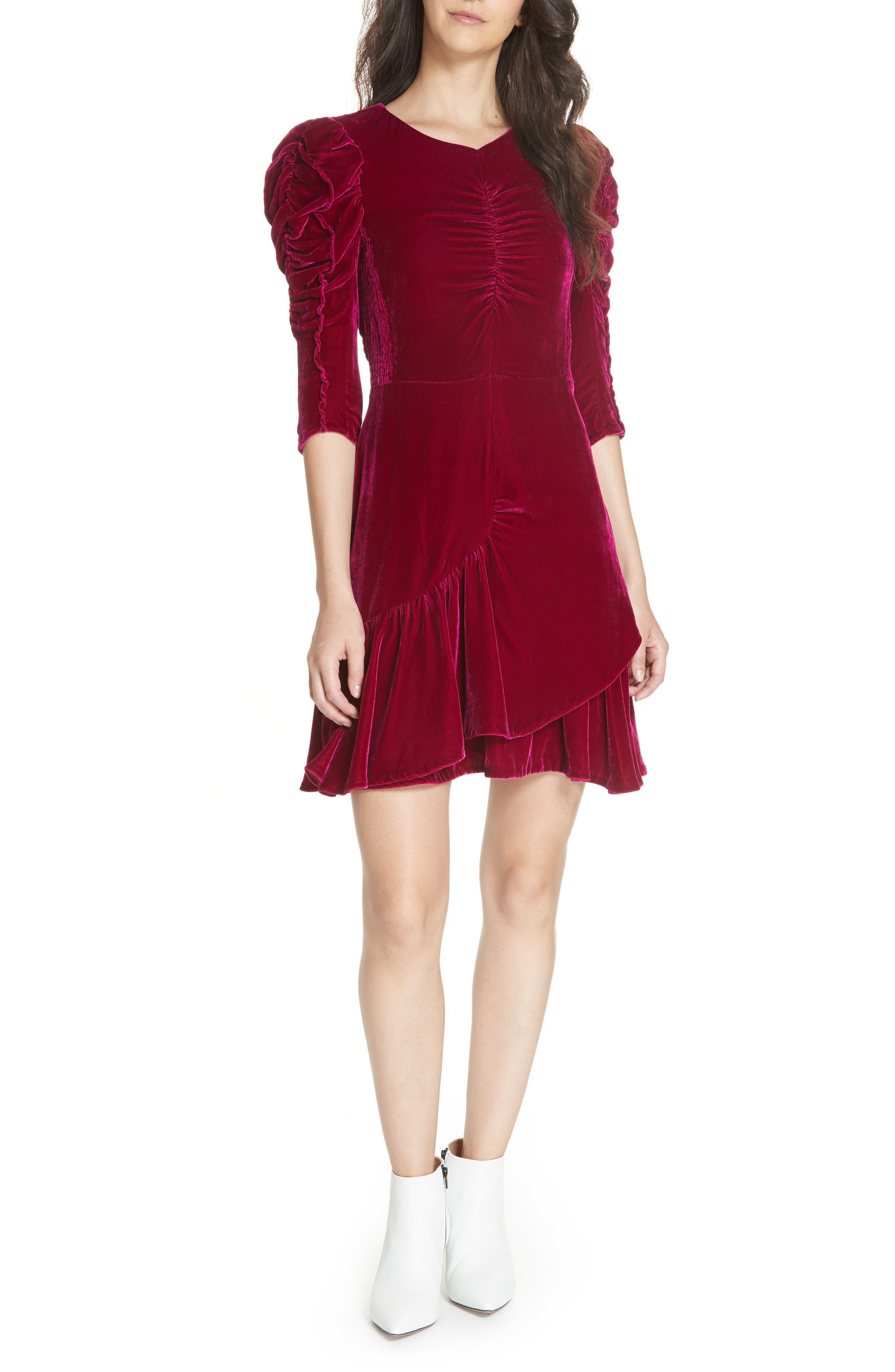 Ruched Velvet Dress,                         Main,                         color, CRANBERRY