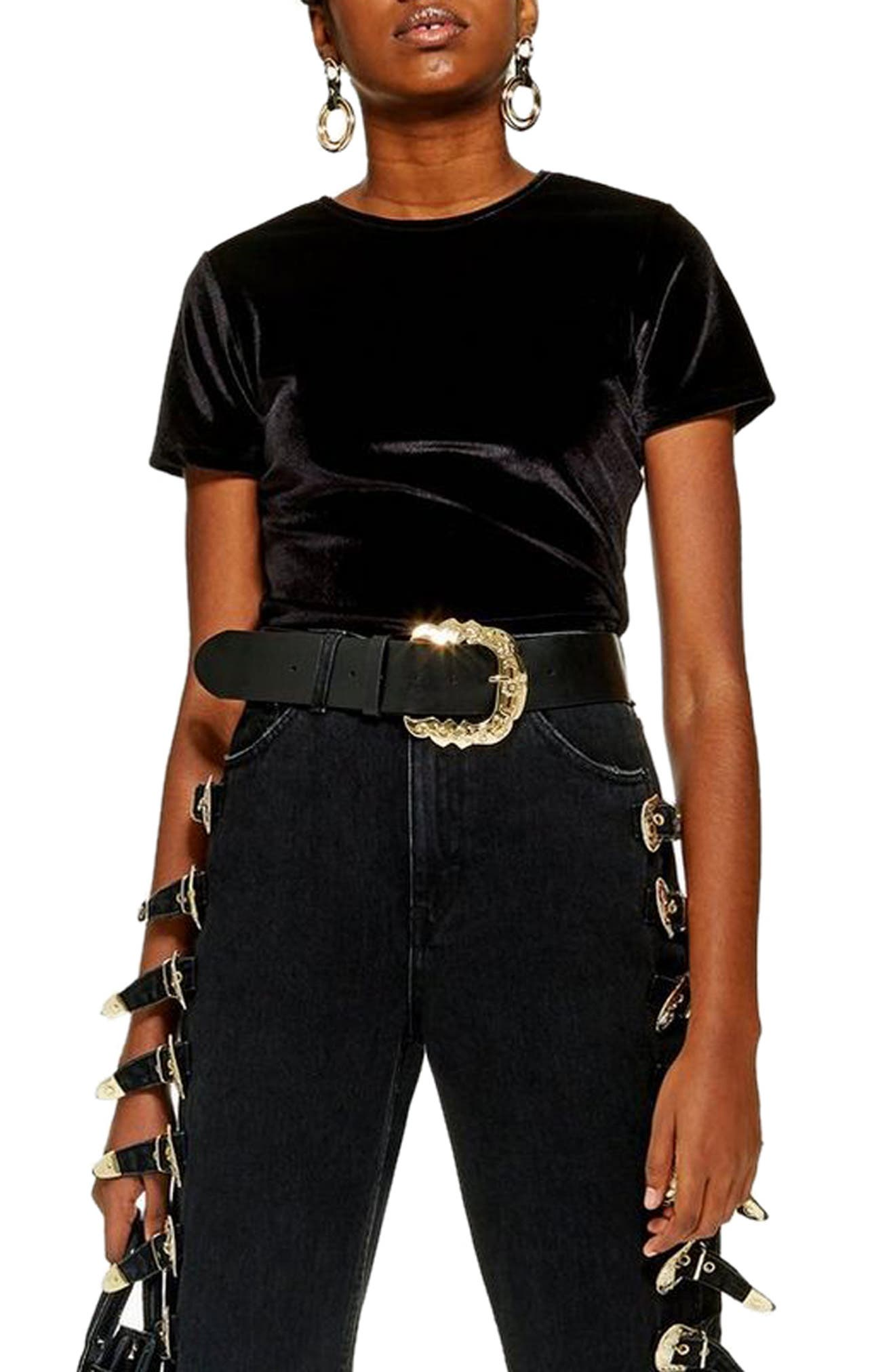 Velvet Crop Top,                         Main,                         color, BLACK