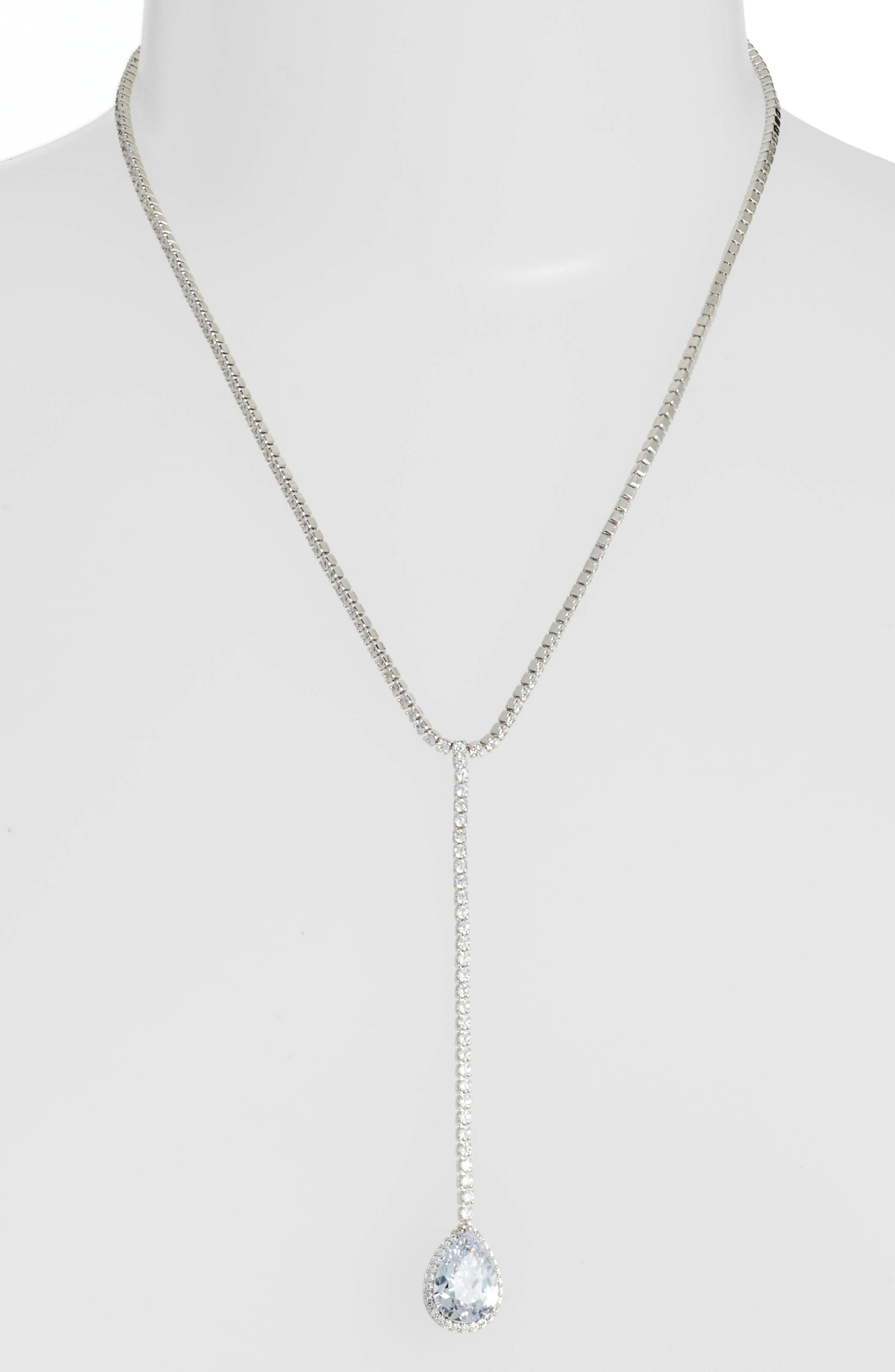Teardrop Cubic Zirconia Y-Shape Necklace,                         Main,                         color, WHITE/ SILVER