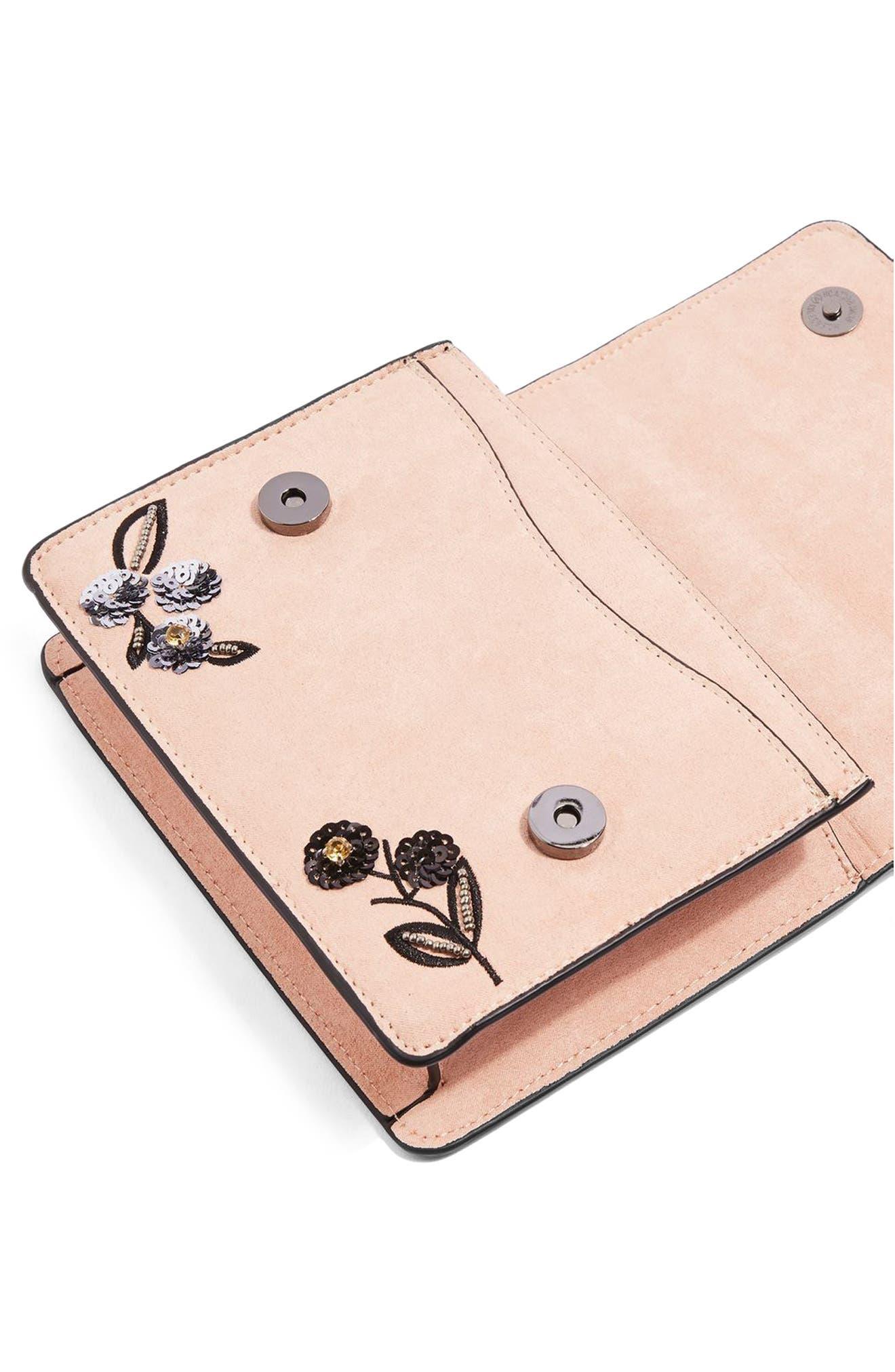 Kylie Embellished Faux Suede Crossbody Bag,                             Alternate thumbnail 6, color,
