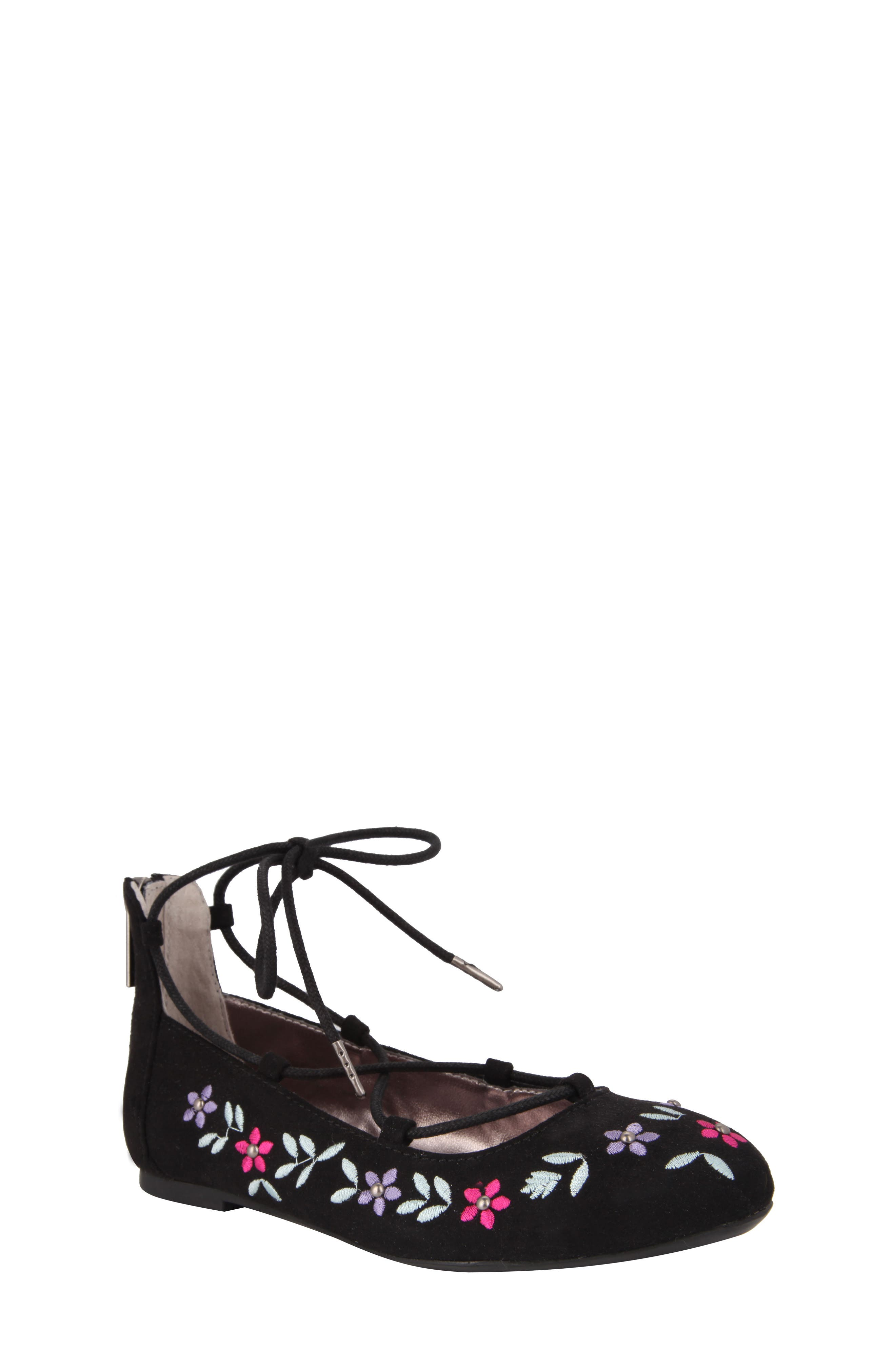 Nelly Embroidered Ghillie Flat,                         Main,                         color, 003
