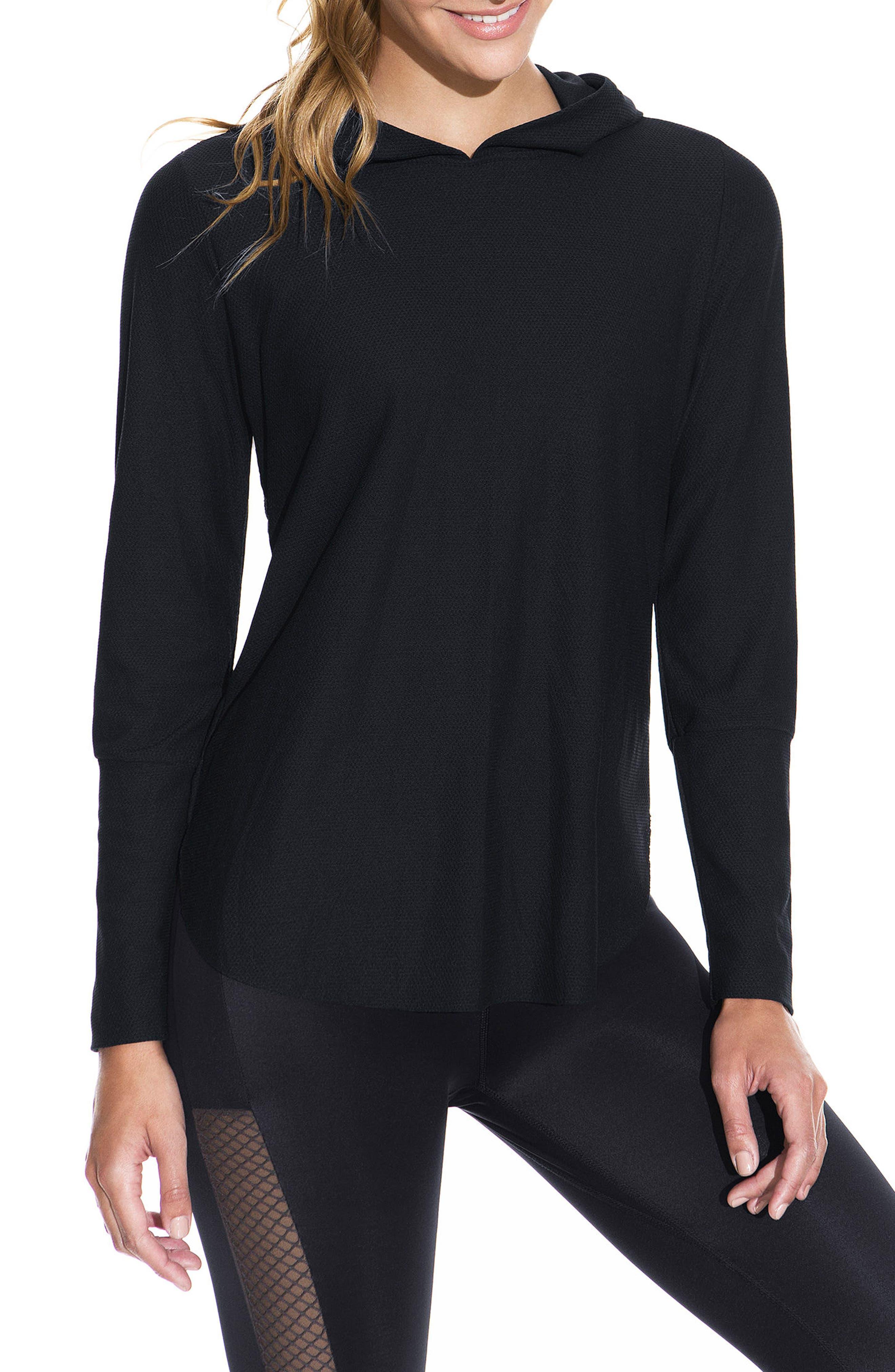 Sheer Waves Onyx Long Sleeve Top,                         Main,                         color, BLACK