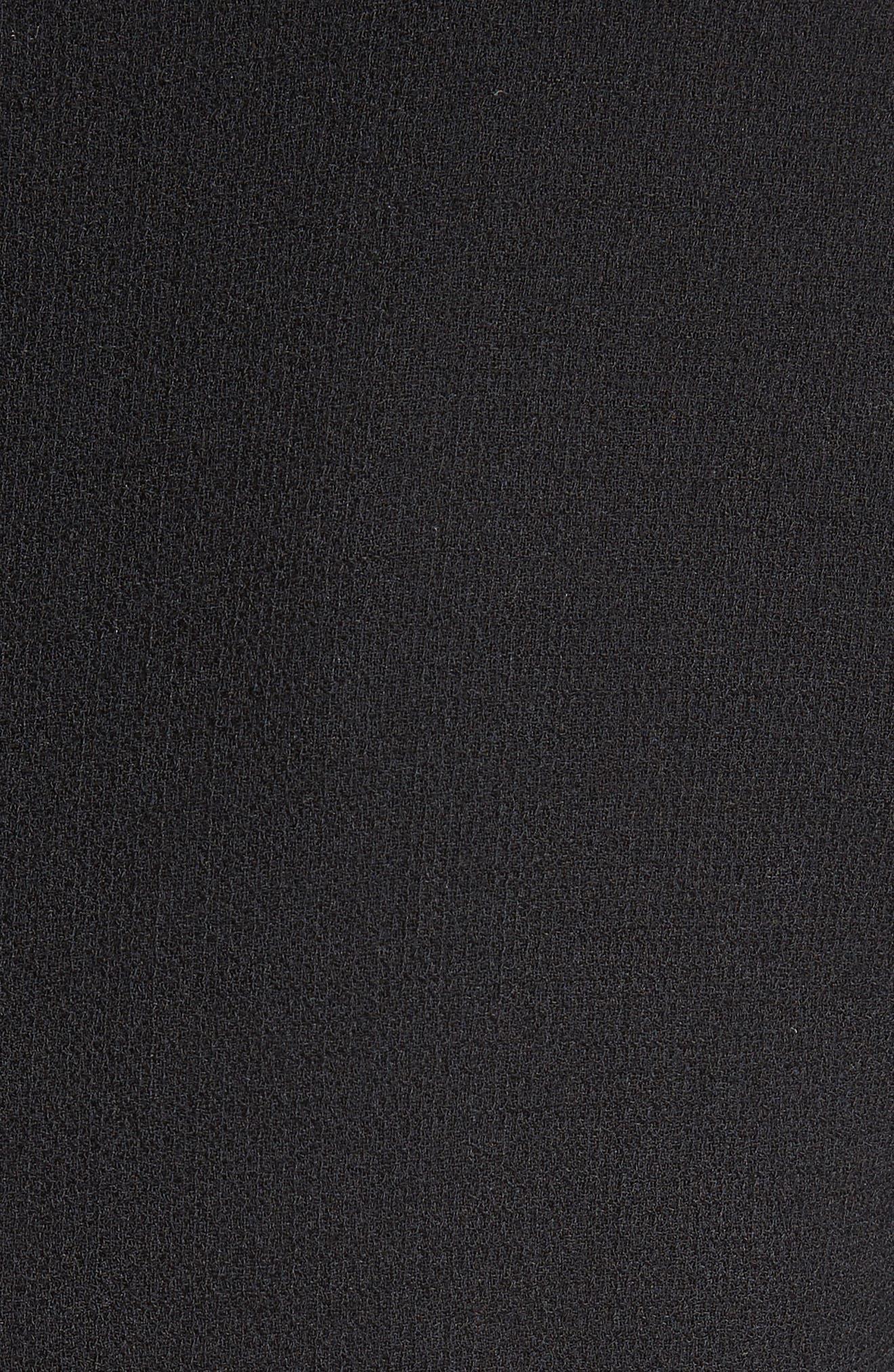 Pompom Trim Double Face Crepe Dress,                             Alternate thumbnail 6, color,                             001