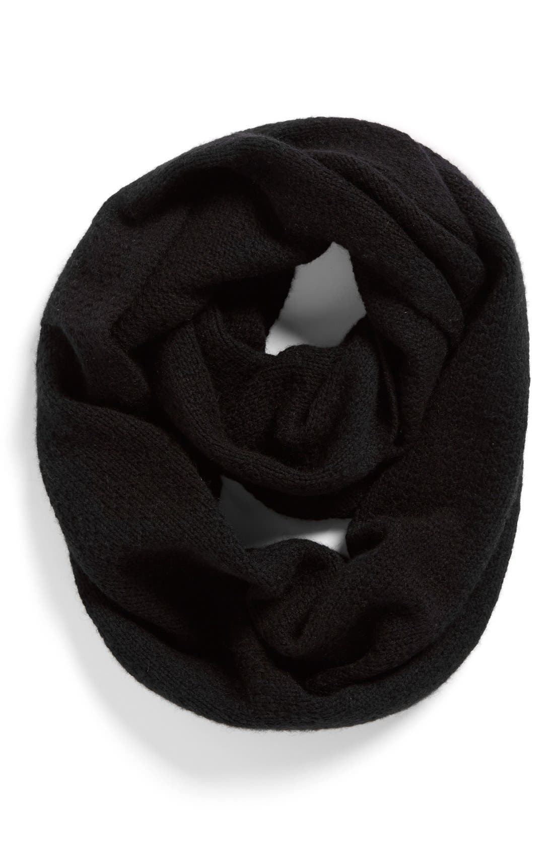 Pointelle Knit Wool & Cashmere Infinity Scarf,                             Main thumbnail 1, color,                             001