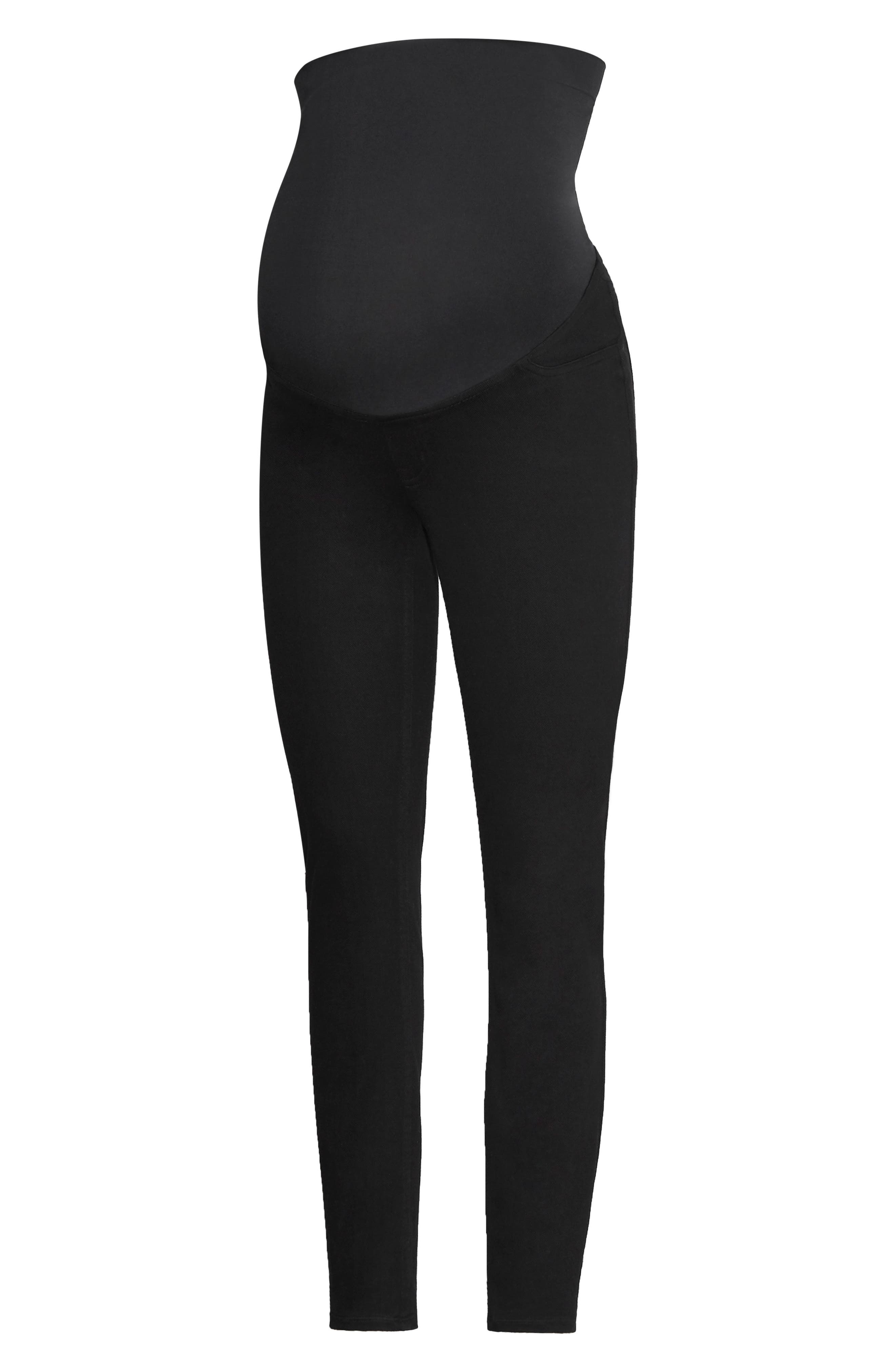 Mama Ankle Jean-ish<sup>®</sup> Seamless Maternity Leggings,                         Main,                         color, BLACK
