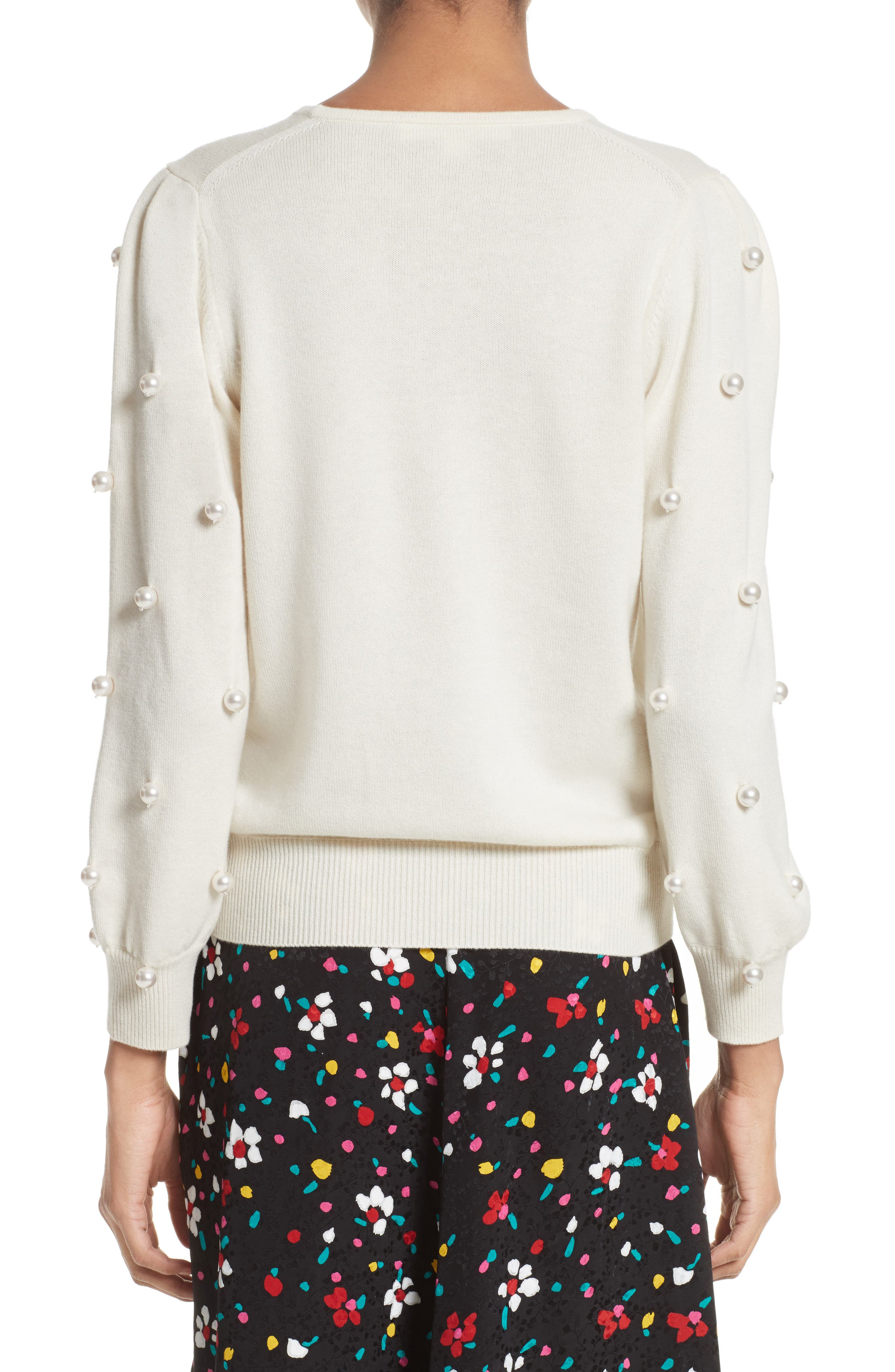 Imitation Pearl Embellished Wool & Cashmere Sweater,                             Alternate thumbnail 4, color,