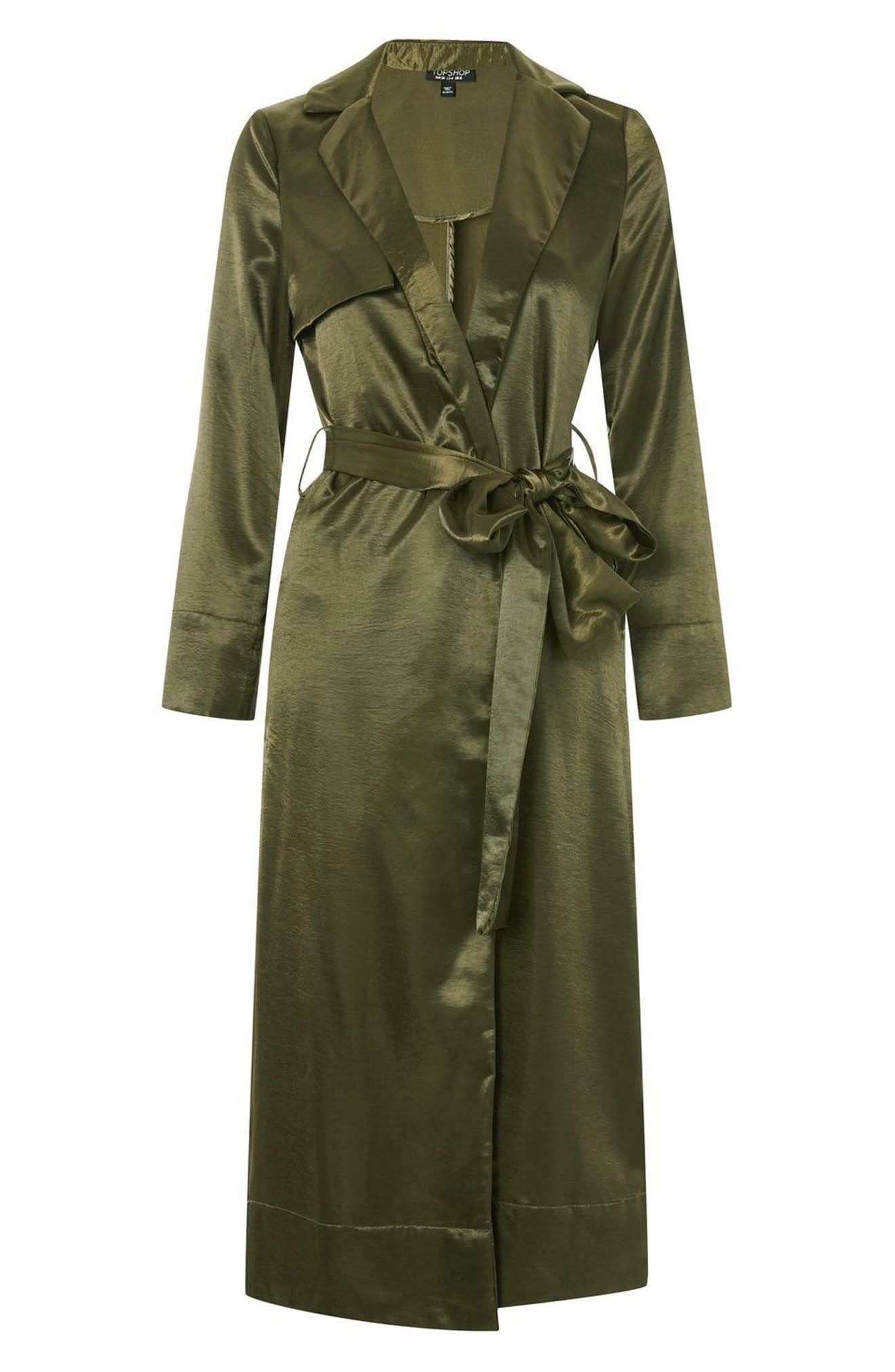 Belted Satin Duster Coat,                             Alternate thumbnail 4, color,