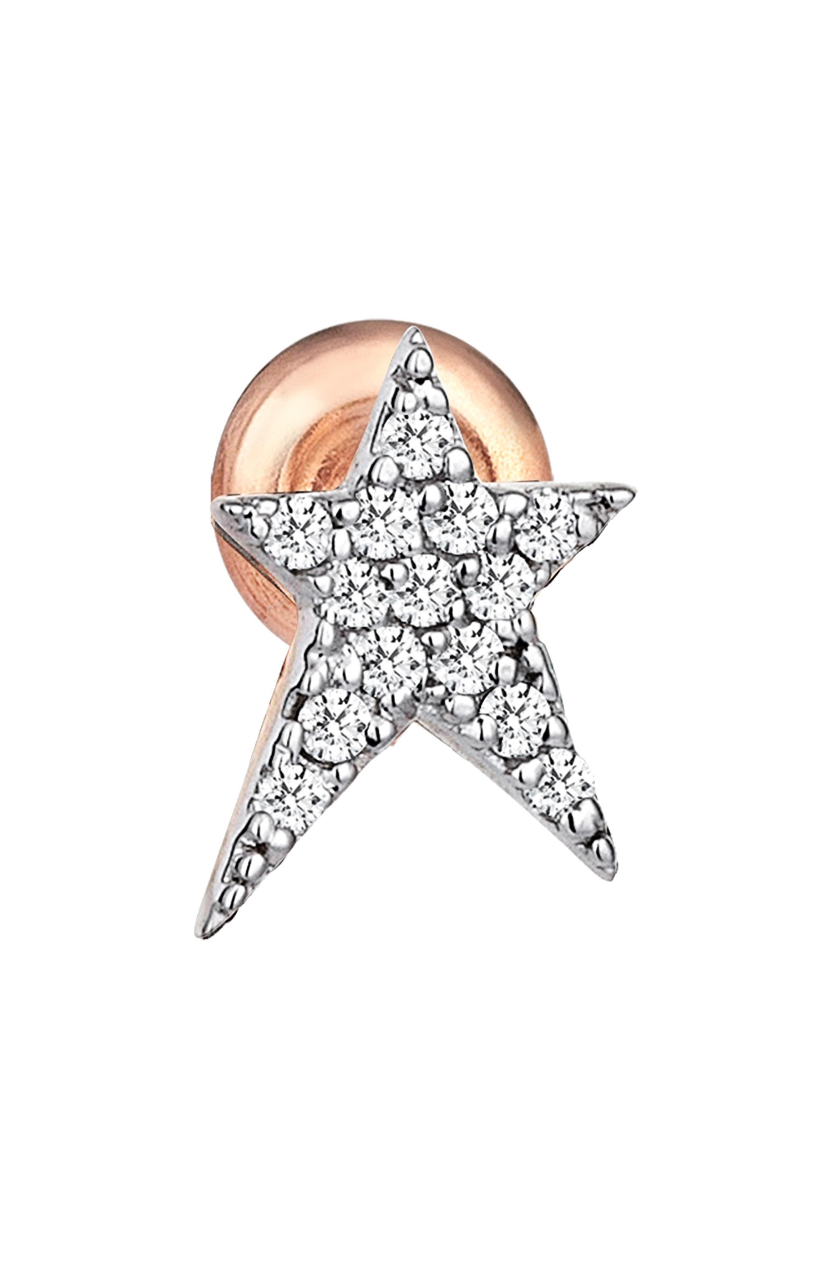 Diamond Star Earring,                             Main thumbnail 1, color,                             ROSE GOLD
