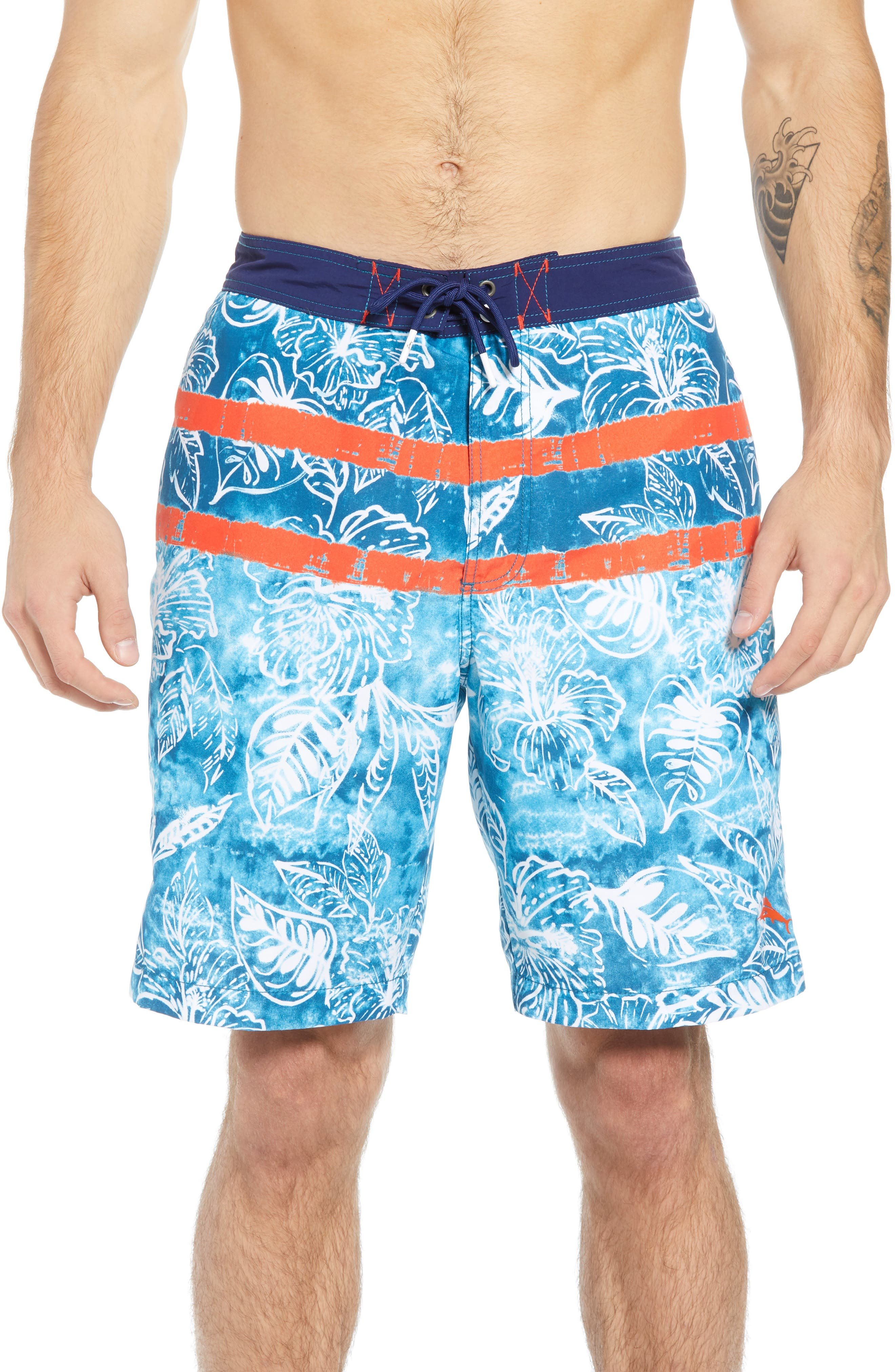 Baja Mar Batik Print Board Shorts,                             Main thumbnail 1, color,                             RIVIERA AZURE