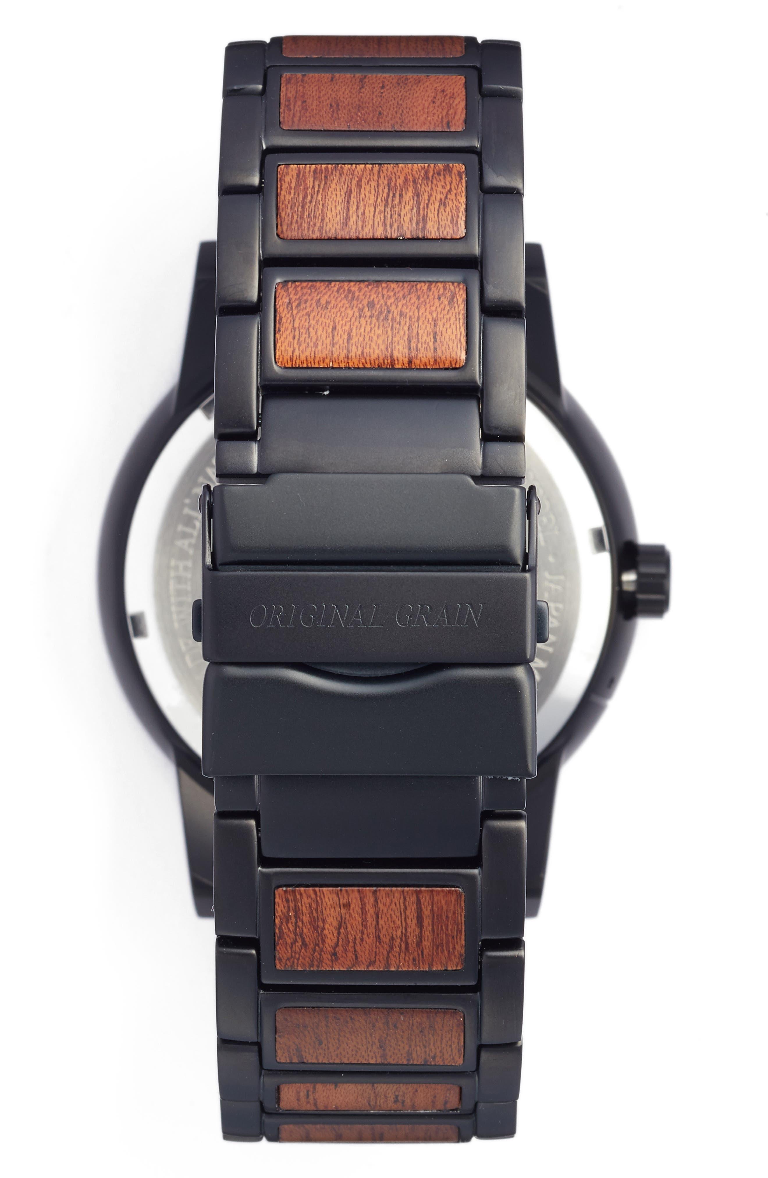 The Barrel Bracelet Watch, 47mm,                             Alternate thumbnail 2, color,                             MATTE BLACK/ SAPELE WOOD
