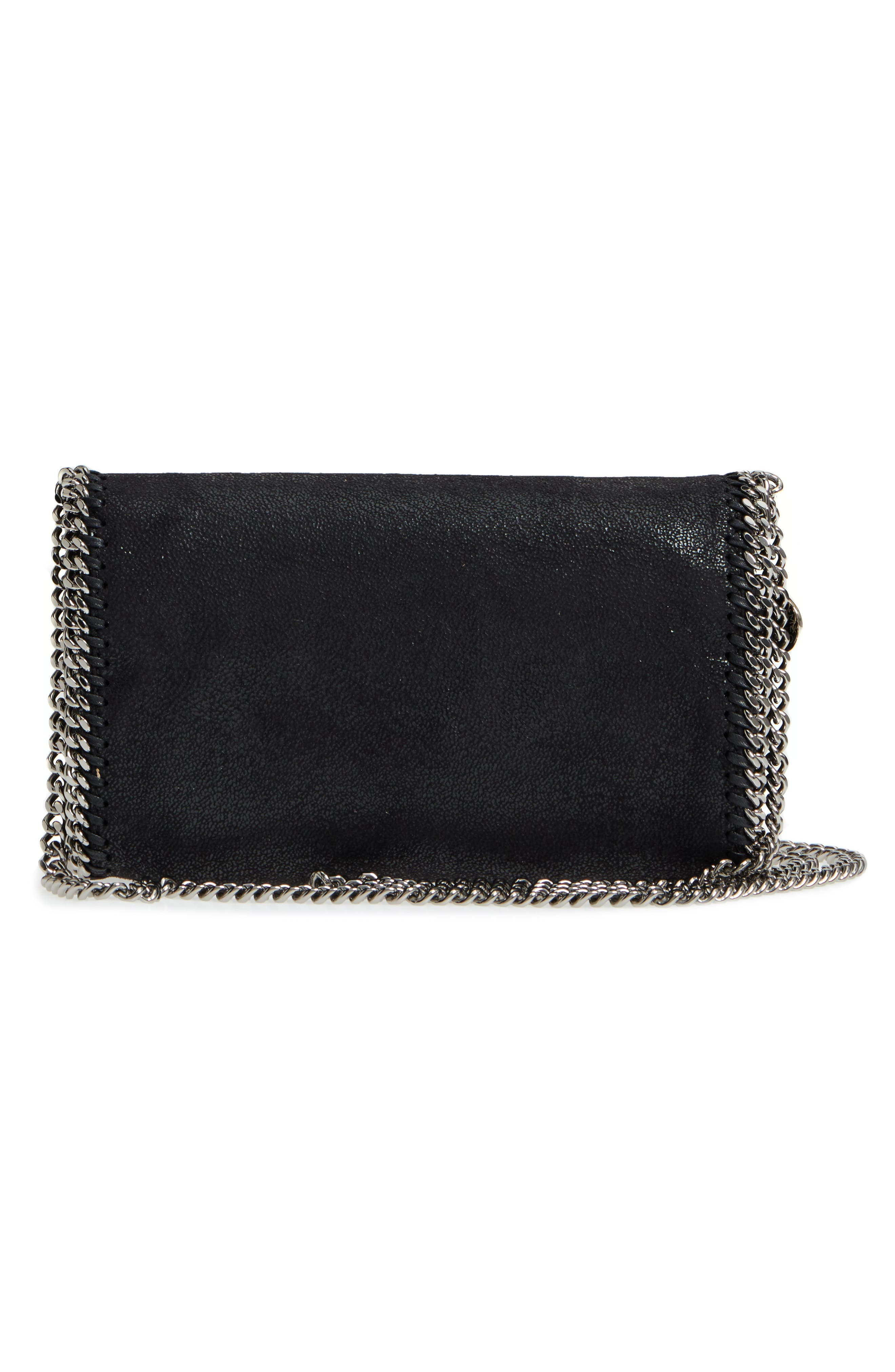 'Falabella - Shaggy Deer' Faux Leather Crossbody Bag,                             Alternate thumbnail 3, color,                             BLACK SLVR HRDWR