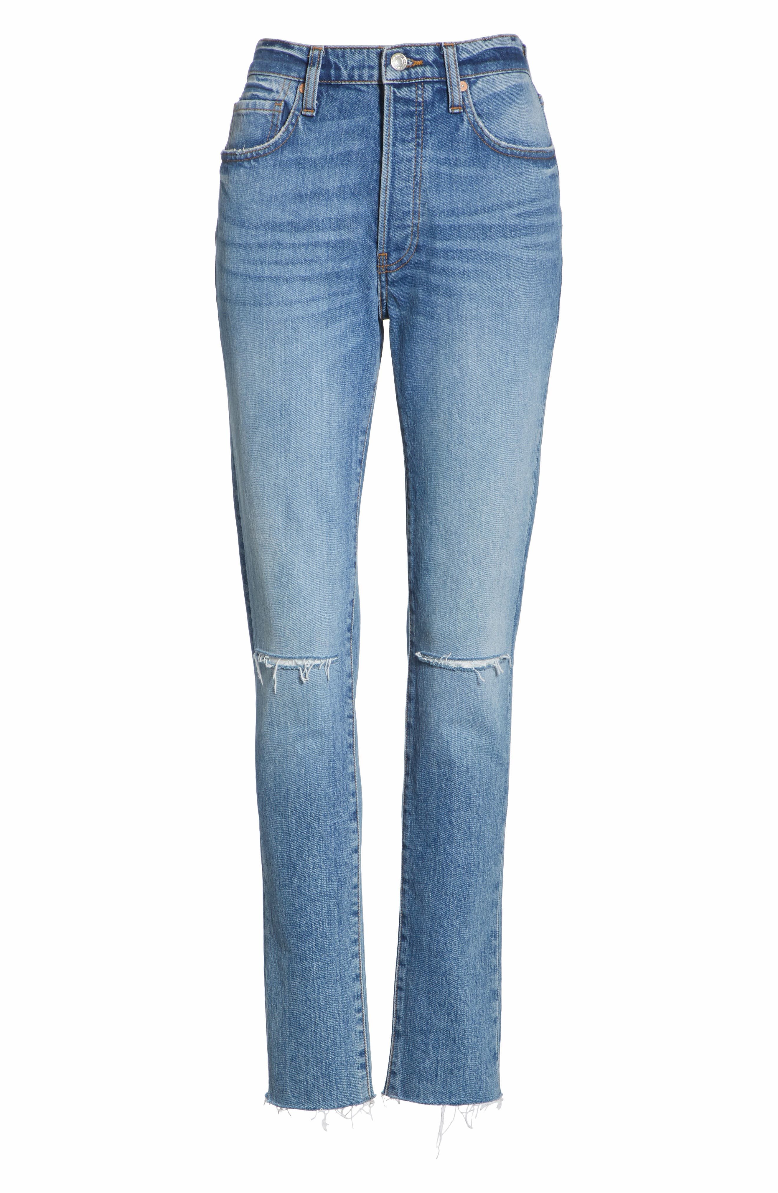 We the Free by Free People Stella High Waist Raw Hem Skinny Jeans,                             Alternate thumbnail 7, color,                             BLUE