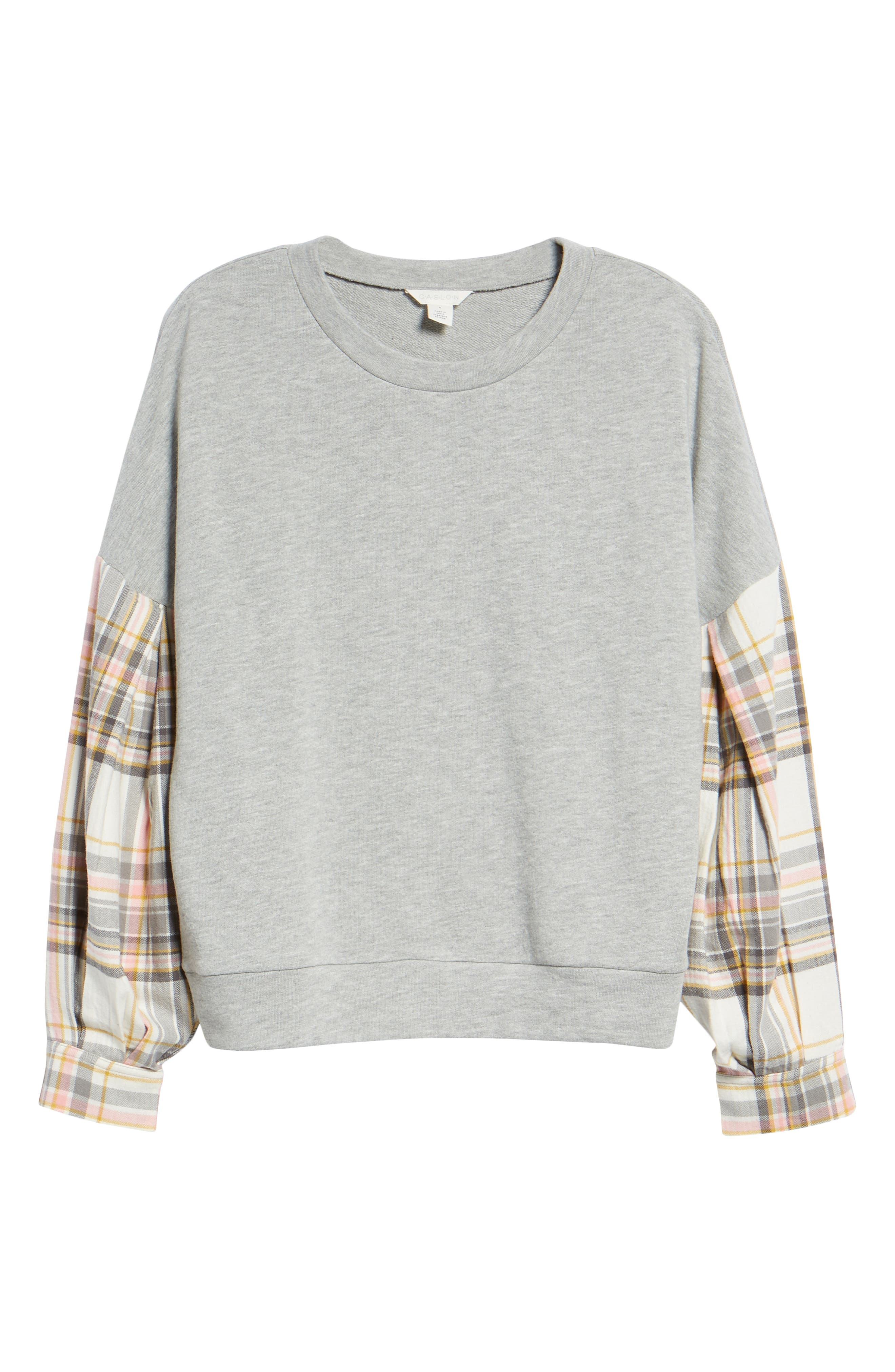 Flannel Sleeve Sweatshirt,                             Alternate thumbnail 6, color,                             030