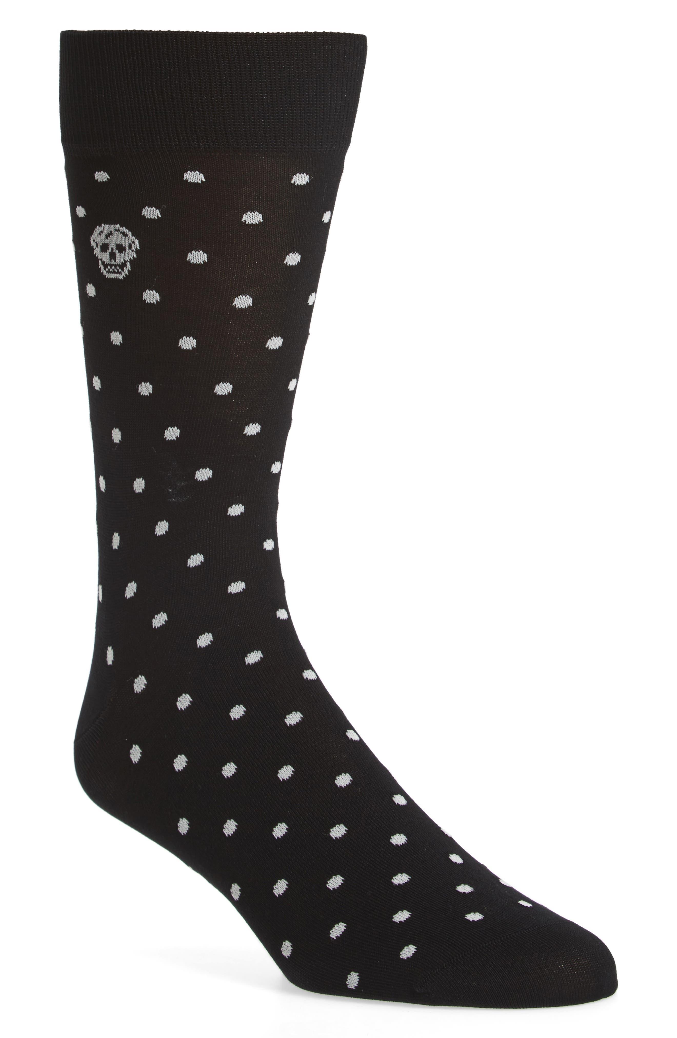 Cotton Blend Polka Dot Socks,                         Main,                         color, 001