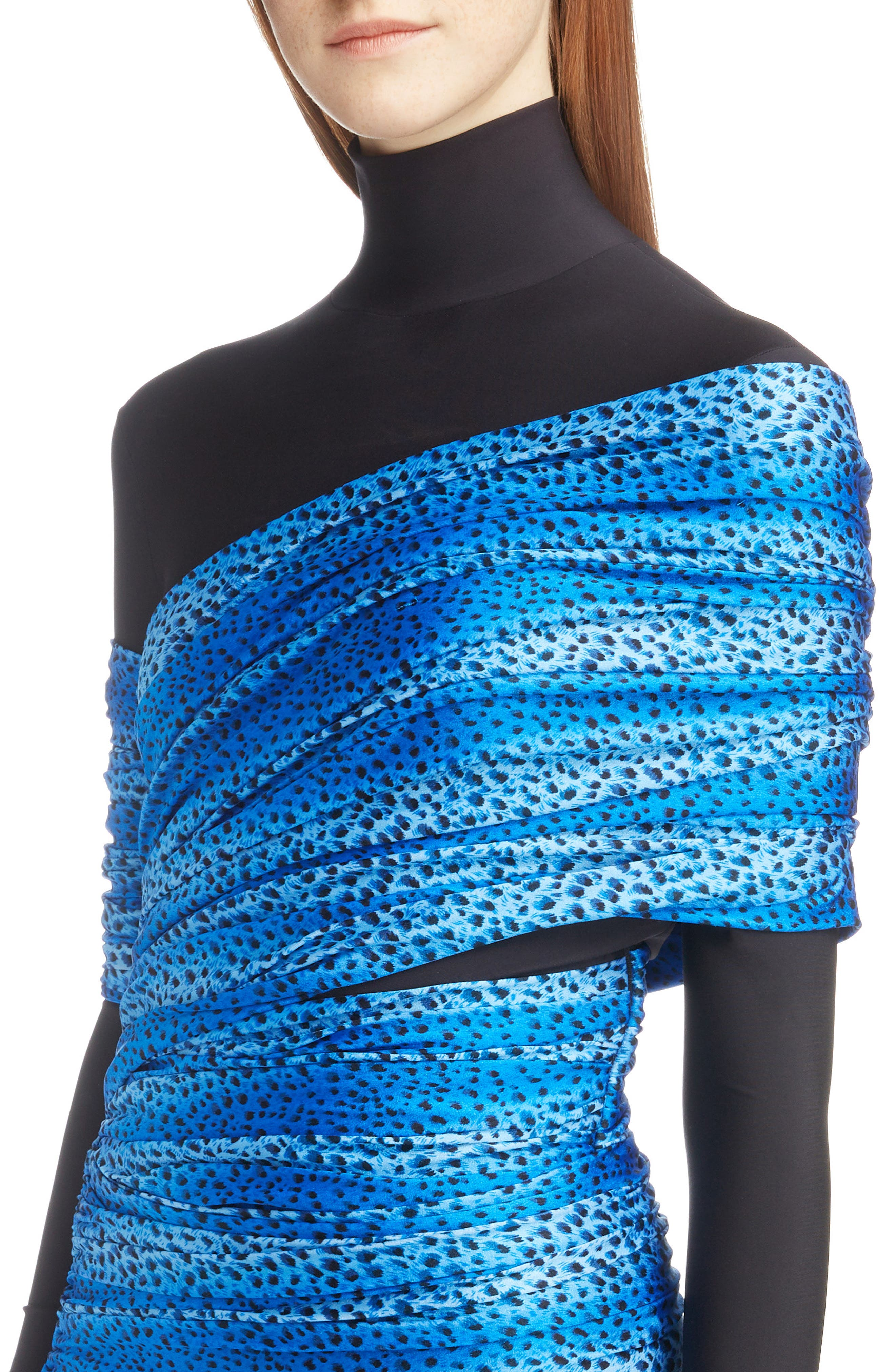 Cheetah Print Overlay Body-Con Dress,                             Alternate thumbnail 4, color,                             4011-BLUE