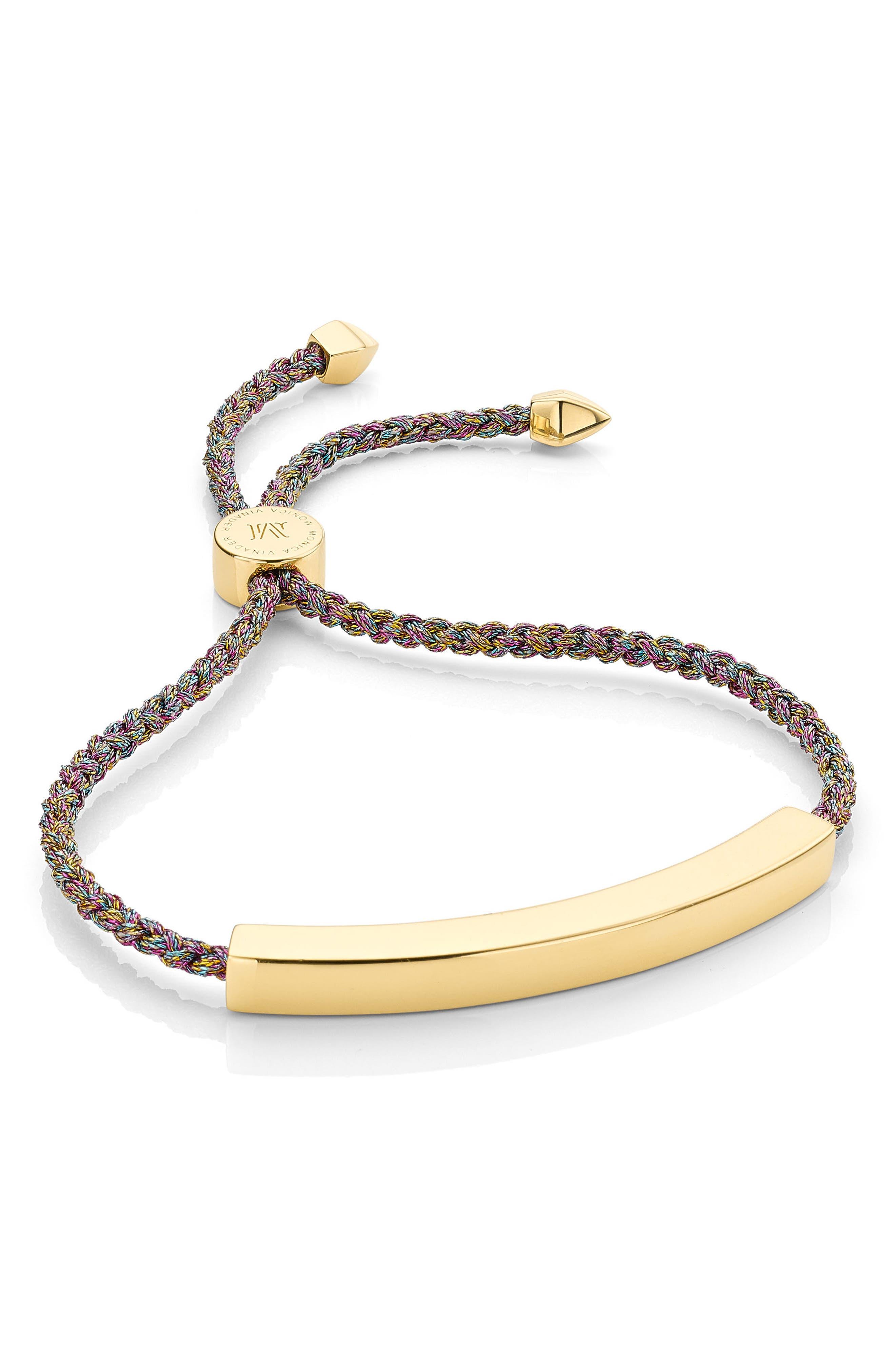 Engravable Large Linear Friendship Bracelet,                         Main,                         color, RAINBOW METALLIC/ YELLOW GOLD