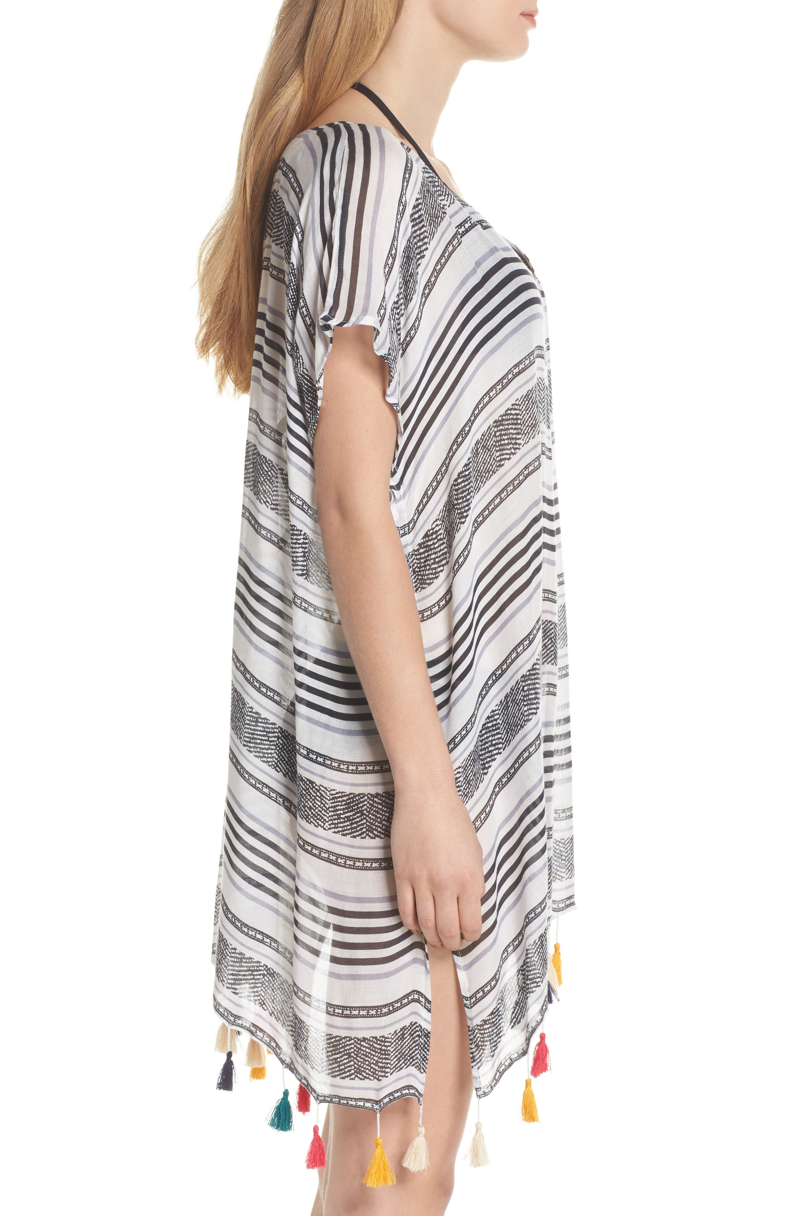 SURF GYPSY,                             Stripe Tassel Cover-Up Tunic,                             Alternate thumbnail 3, color,                             020