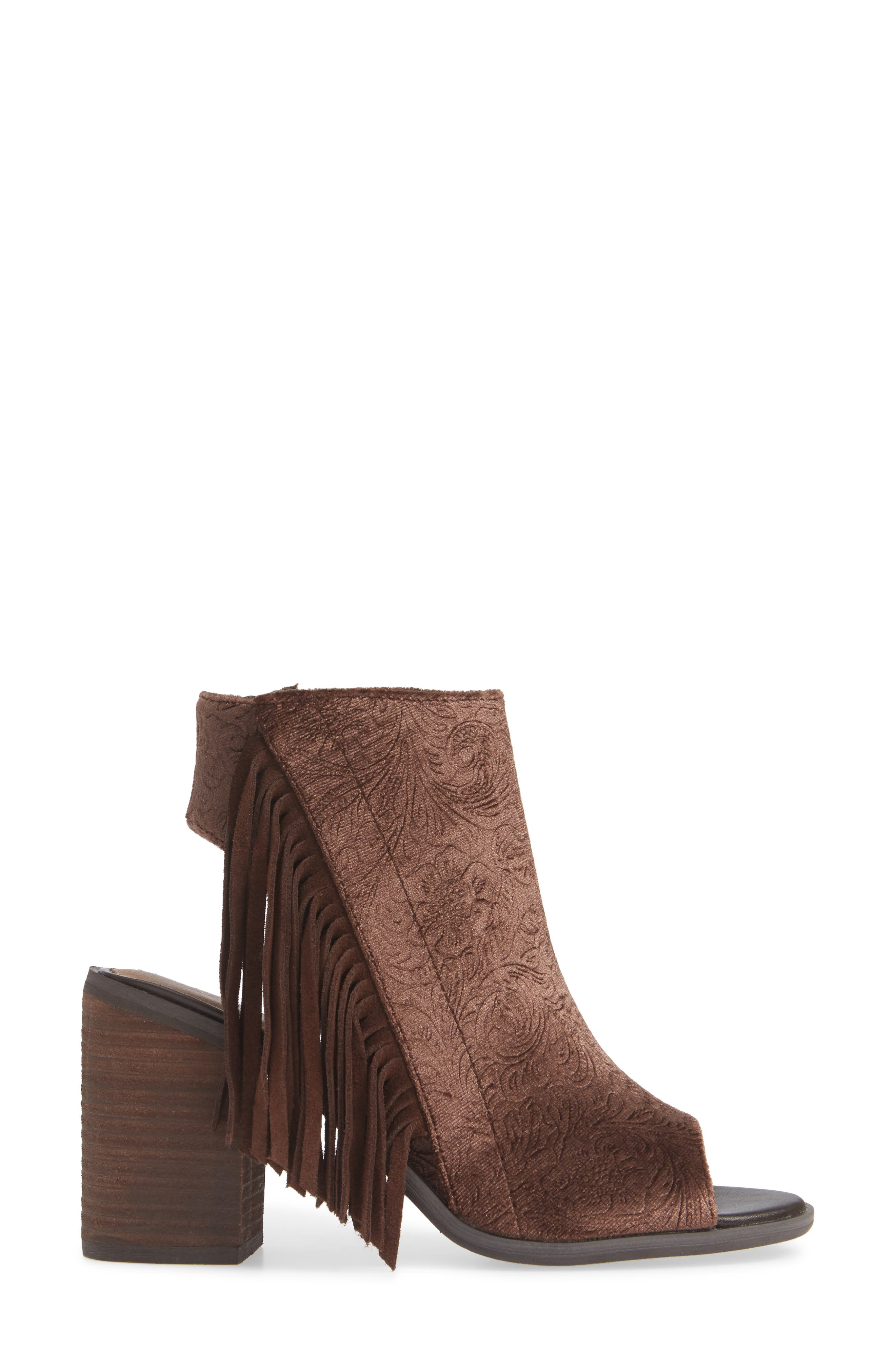 VERY VOLATILE,                             Pony Express Fringe Bootie Sandal,                             Alternate thumbnail 3, color,                             BROWN