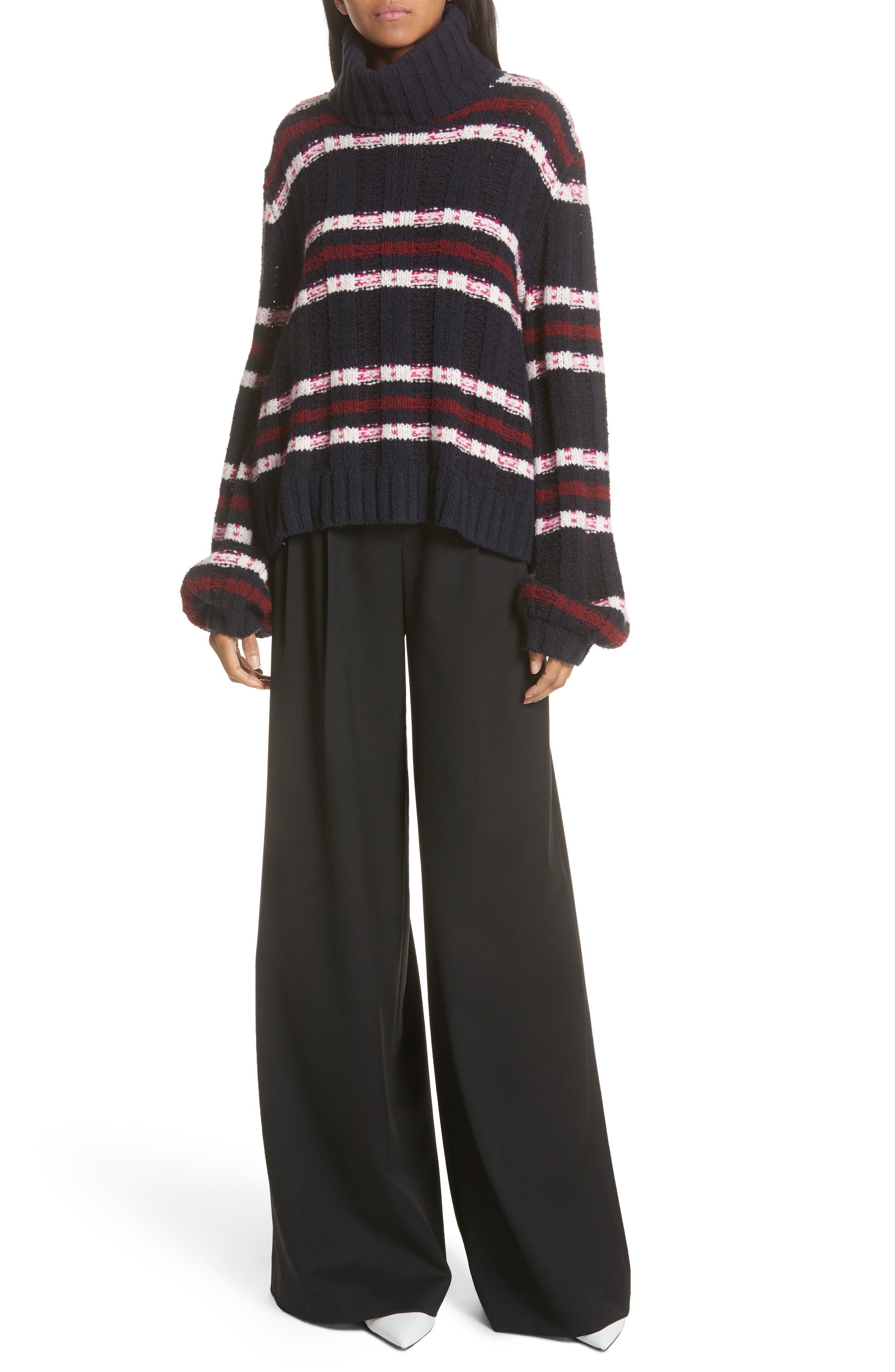 Zaira Stripe Turtleneck Sweater,                             Alternate thumbnail 7, color,                             001