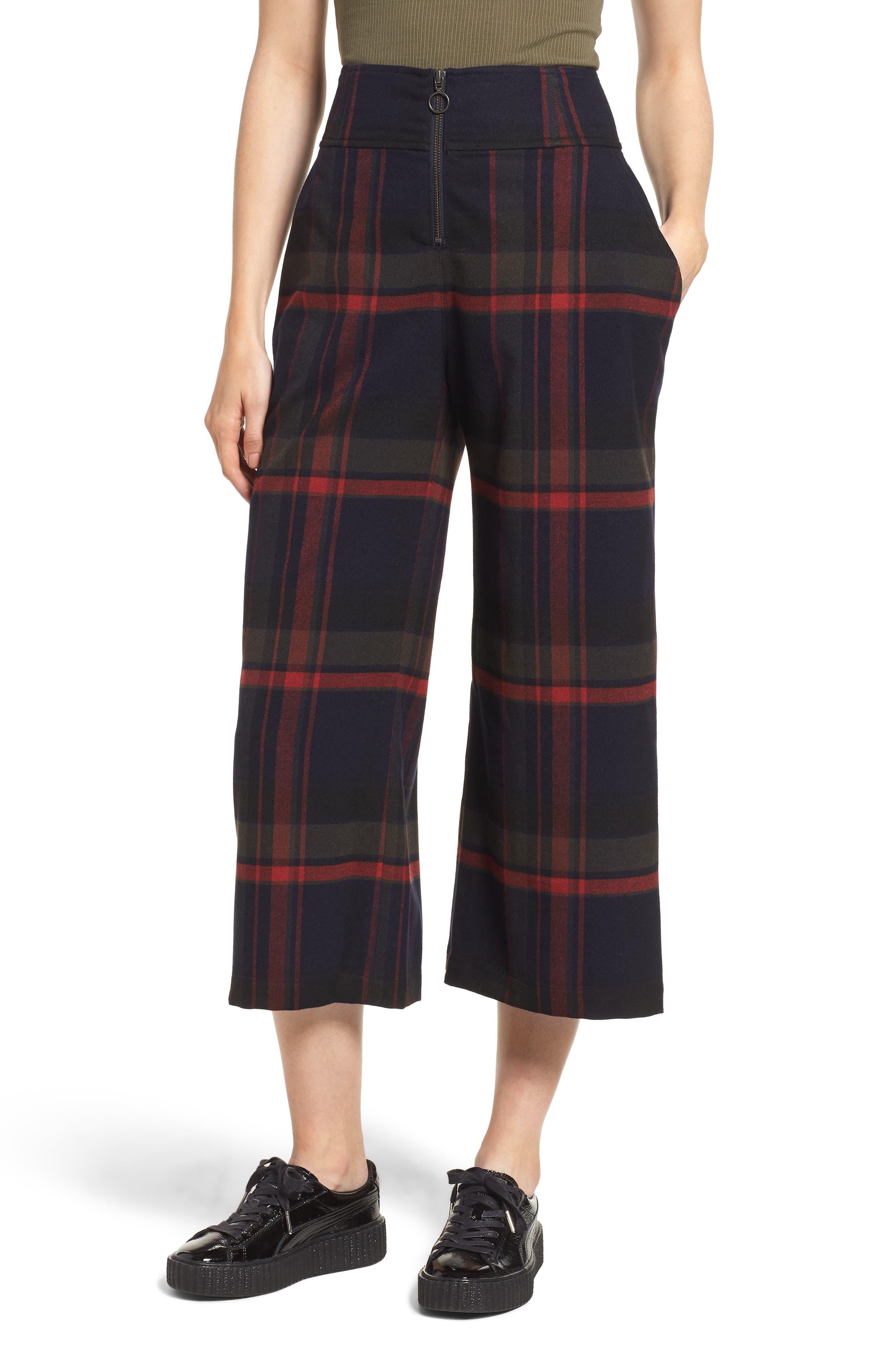 High Rise Plaid Crop Pants,                         Main,                         color, NAVY MARITIME JESSA PLAID