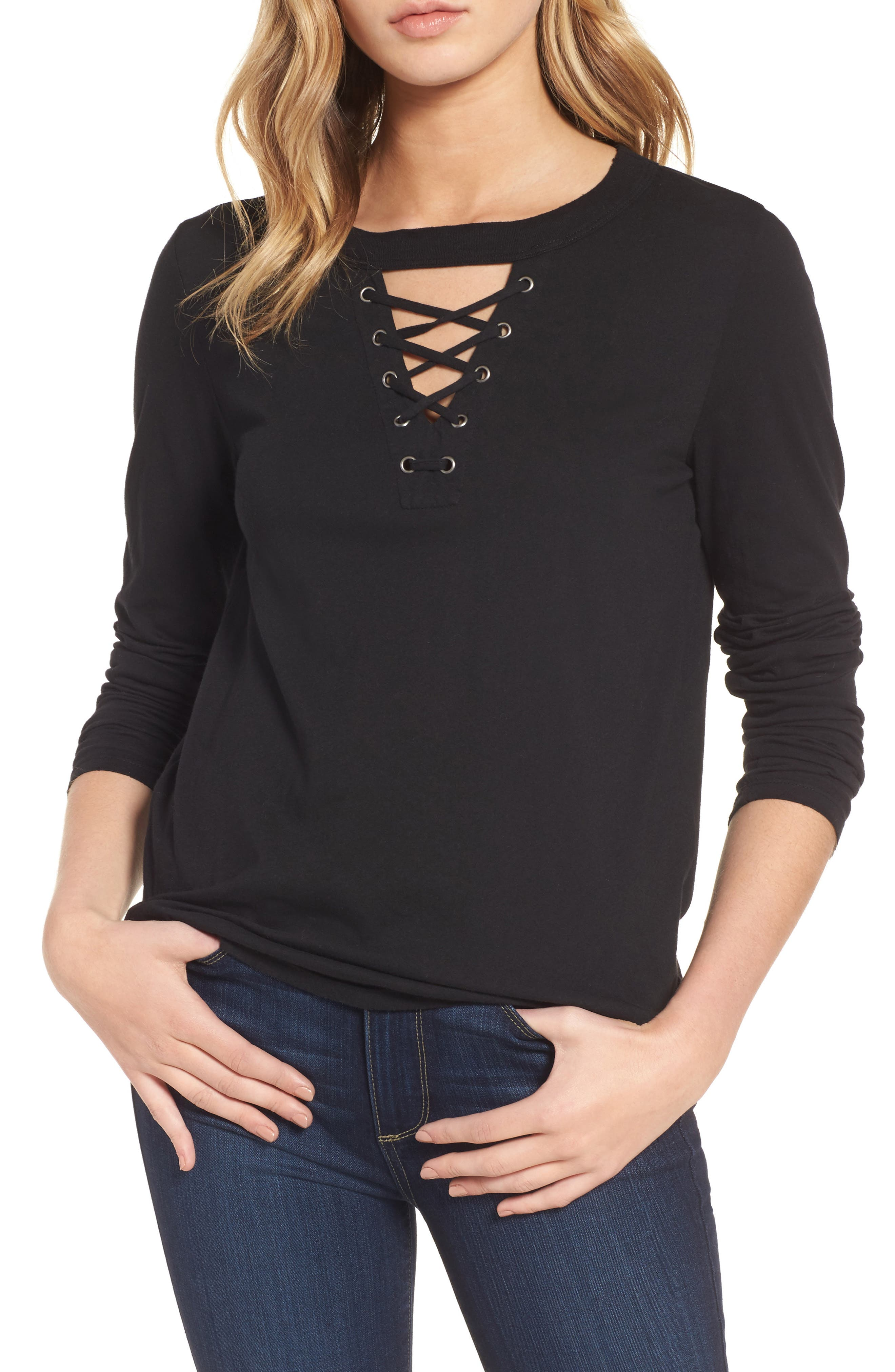 Thorn Lace-Up Tee,                         Main,                         color, 001