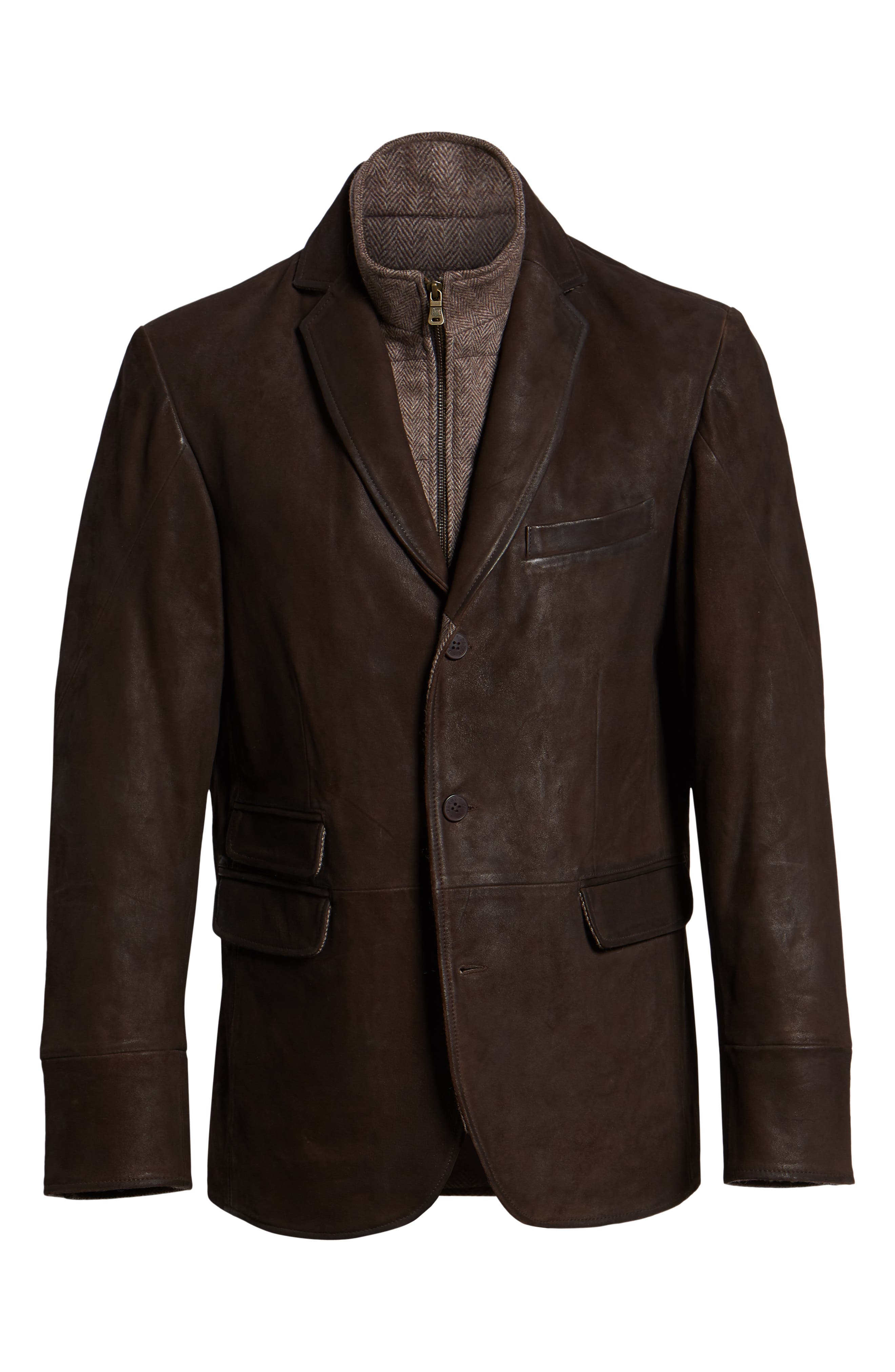 Distressed Leather Hybrid Coat,                             Alternate thumbnail 6, color,                             CHOCOLATE BROWN