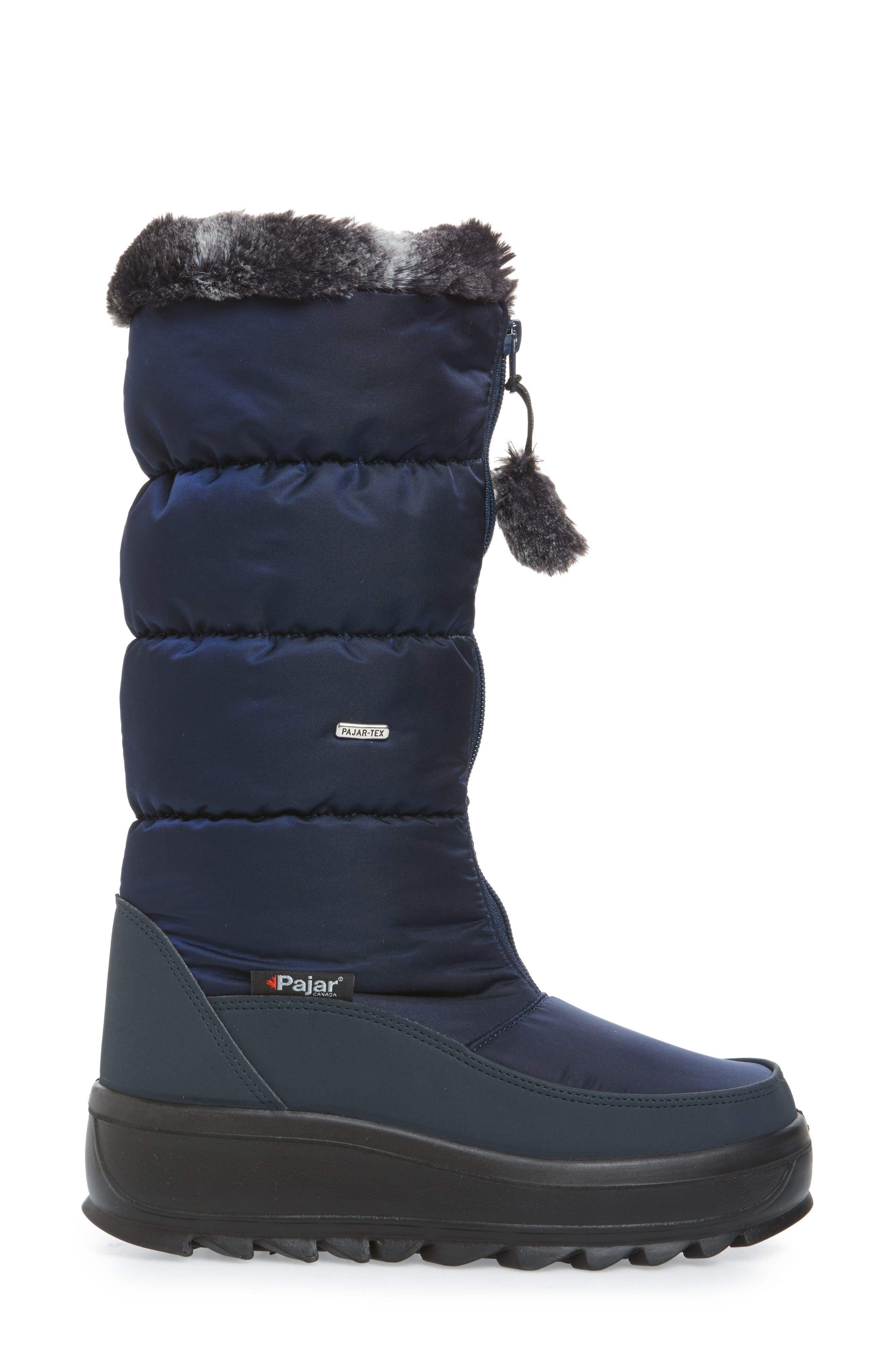 Toboggan 2 Faux Fur Trim Insulated Waterproof Boot,                             Alternate thumbnail 3, color,                             NAVY FABRIC