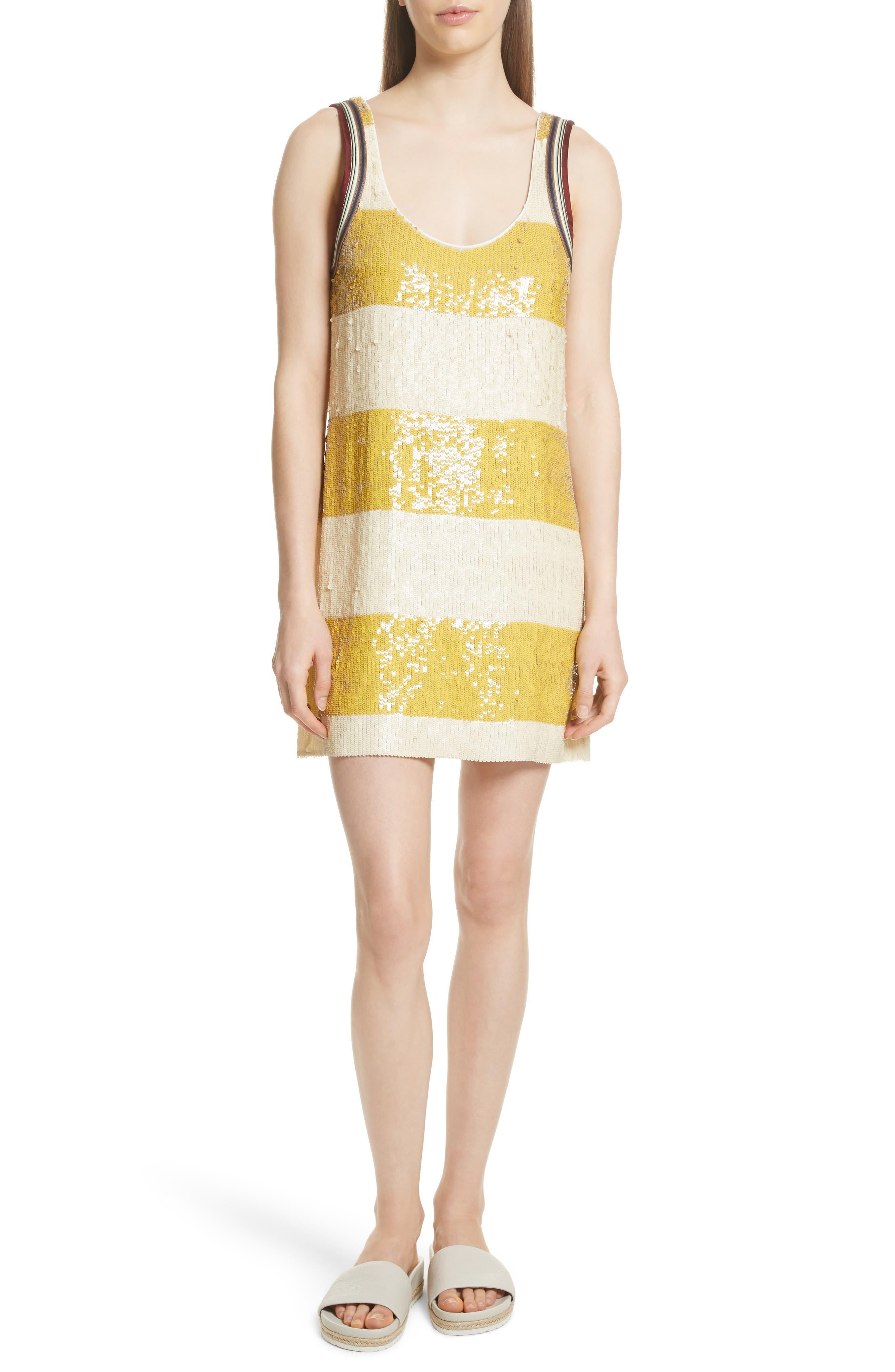 Stripe Sequin Silk Shift Dress,                             Main thumbnail 1, color,                             709
