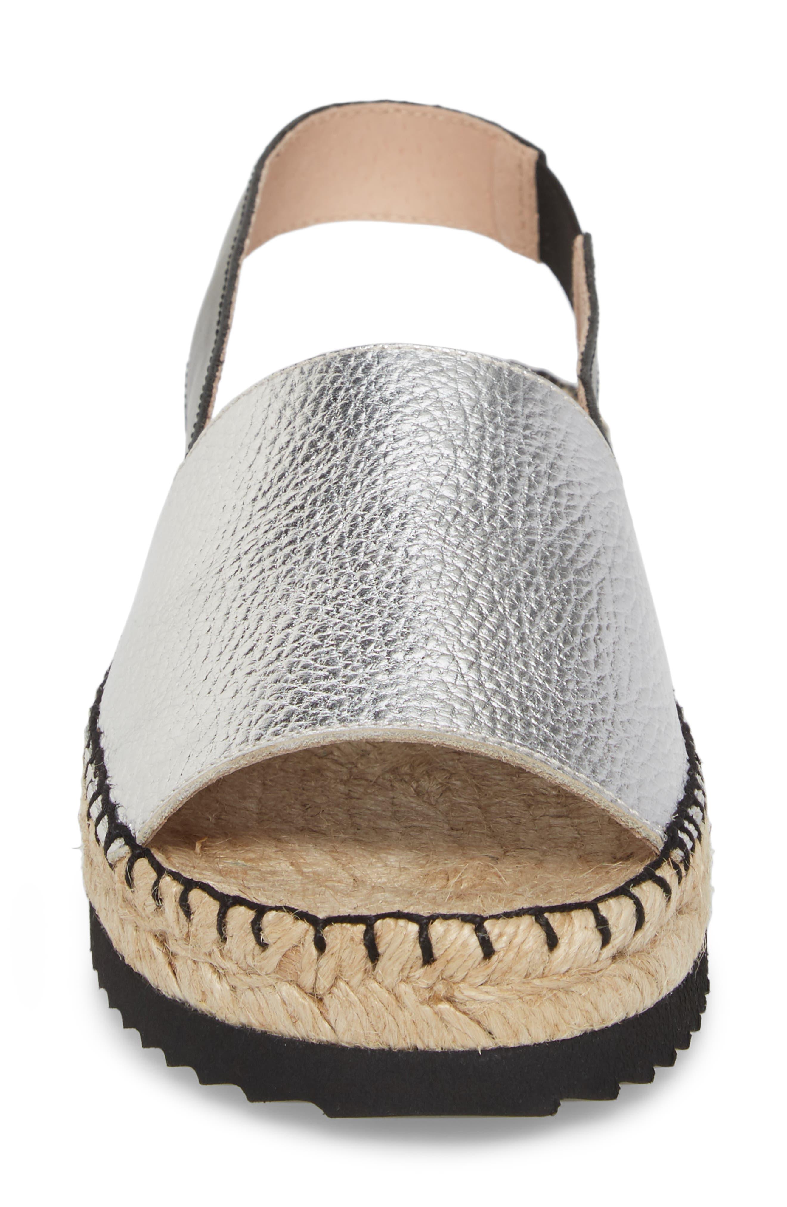 Soho Platform Espadrille Sandal,                             Alternate thumbnail 4, color,                             SILVER SUEDE