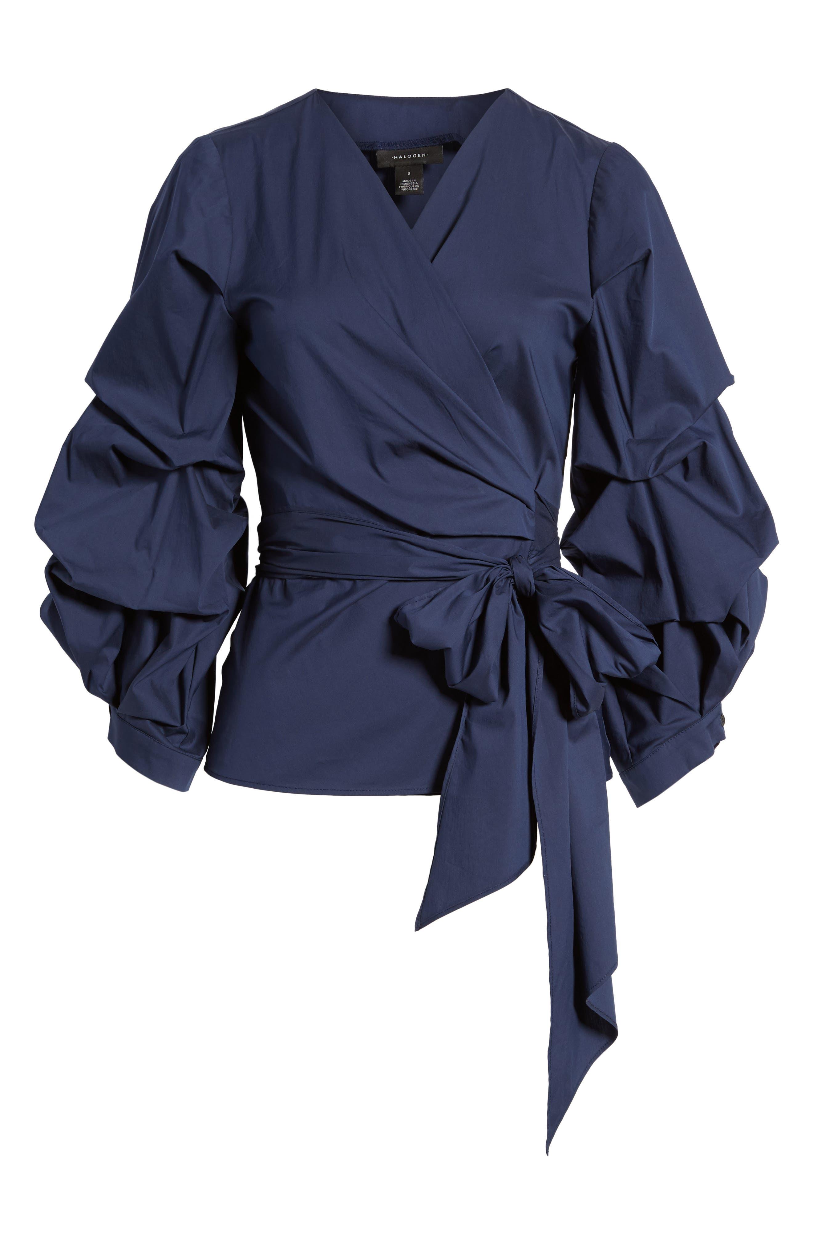 Pintuck Blouson Sleeve Wrap Top,                             Alternate thumbnail 6, color,                             410