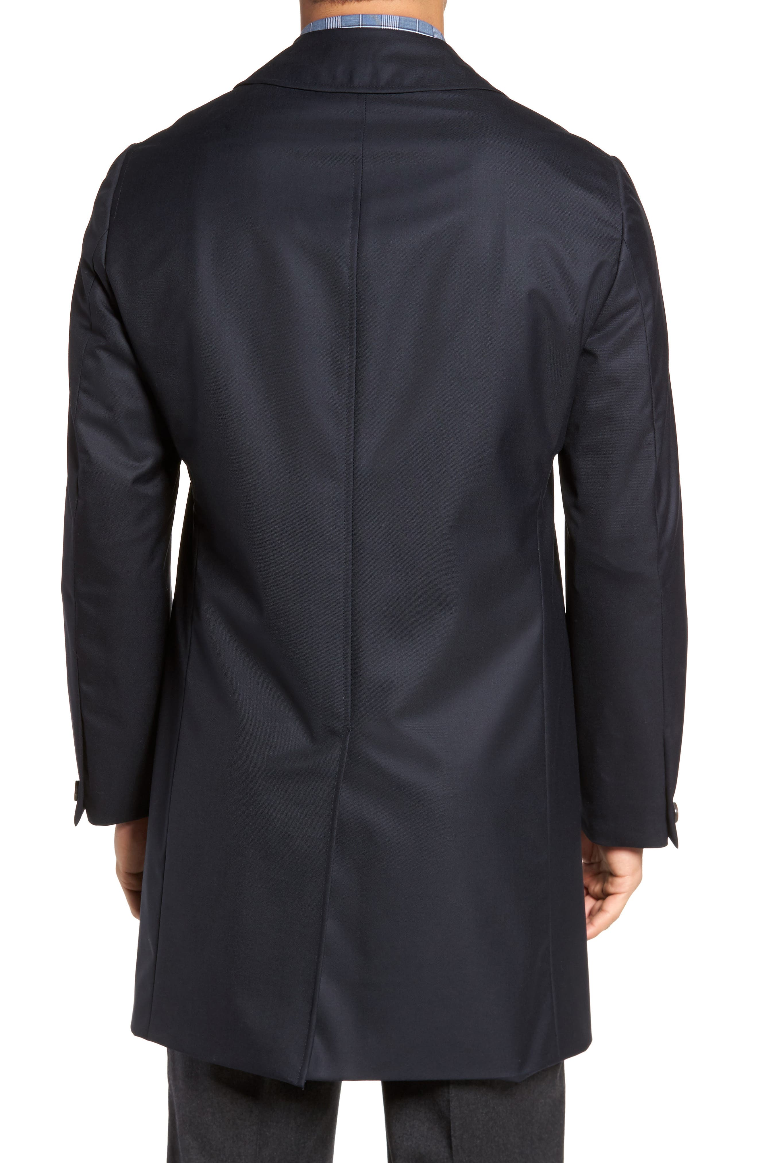 Classic Fit Wool & Cashmere Traveler Topcoat,                             Alternate thumbnail 2, color,                             NAVY SOLID