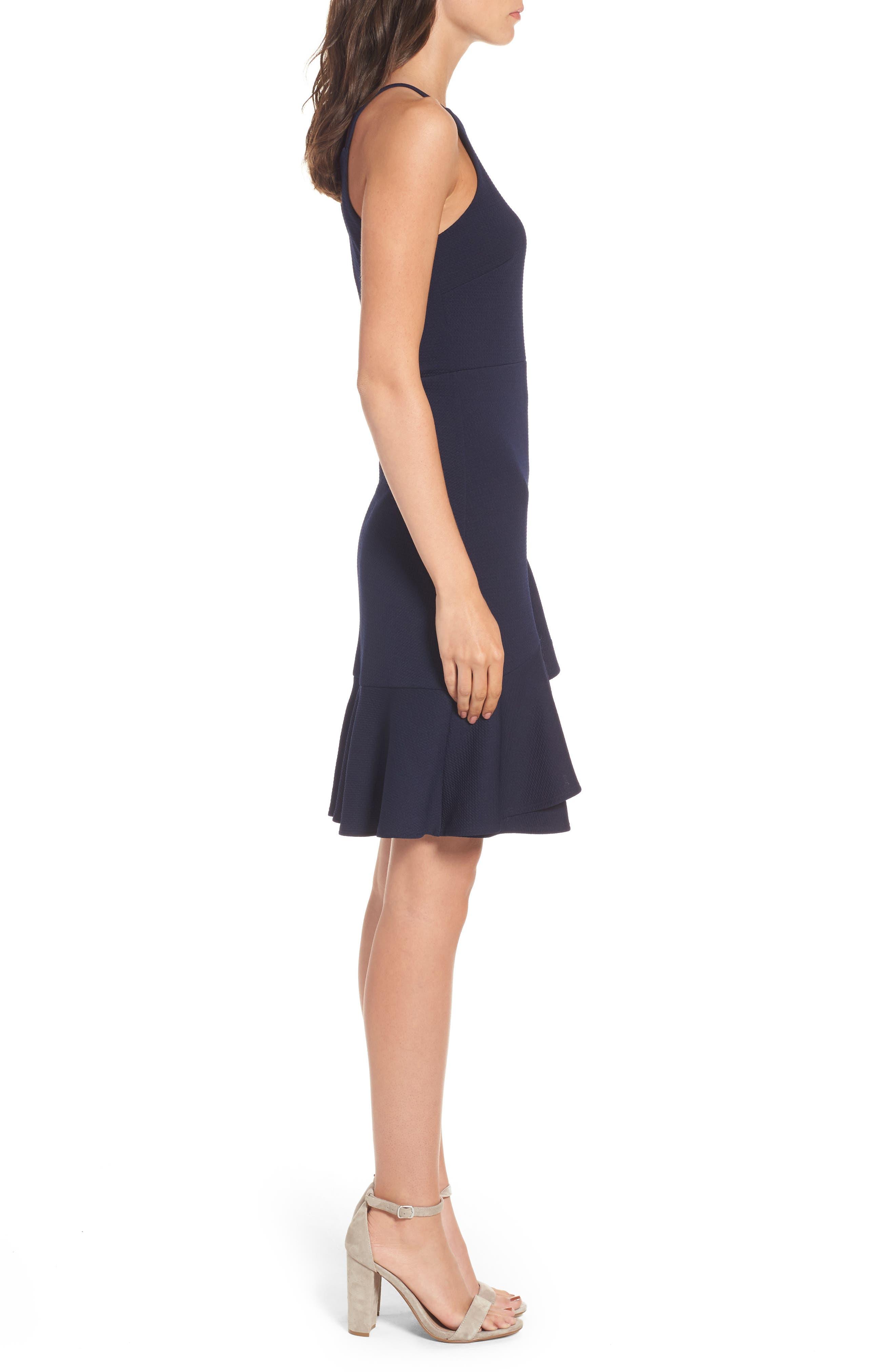 Ruffle Hem Knit Dress,                             Alternate thumbnail 3, color,                             415