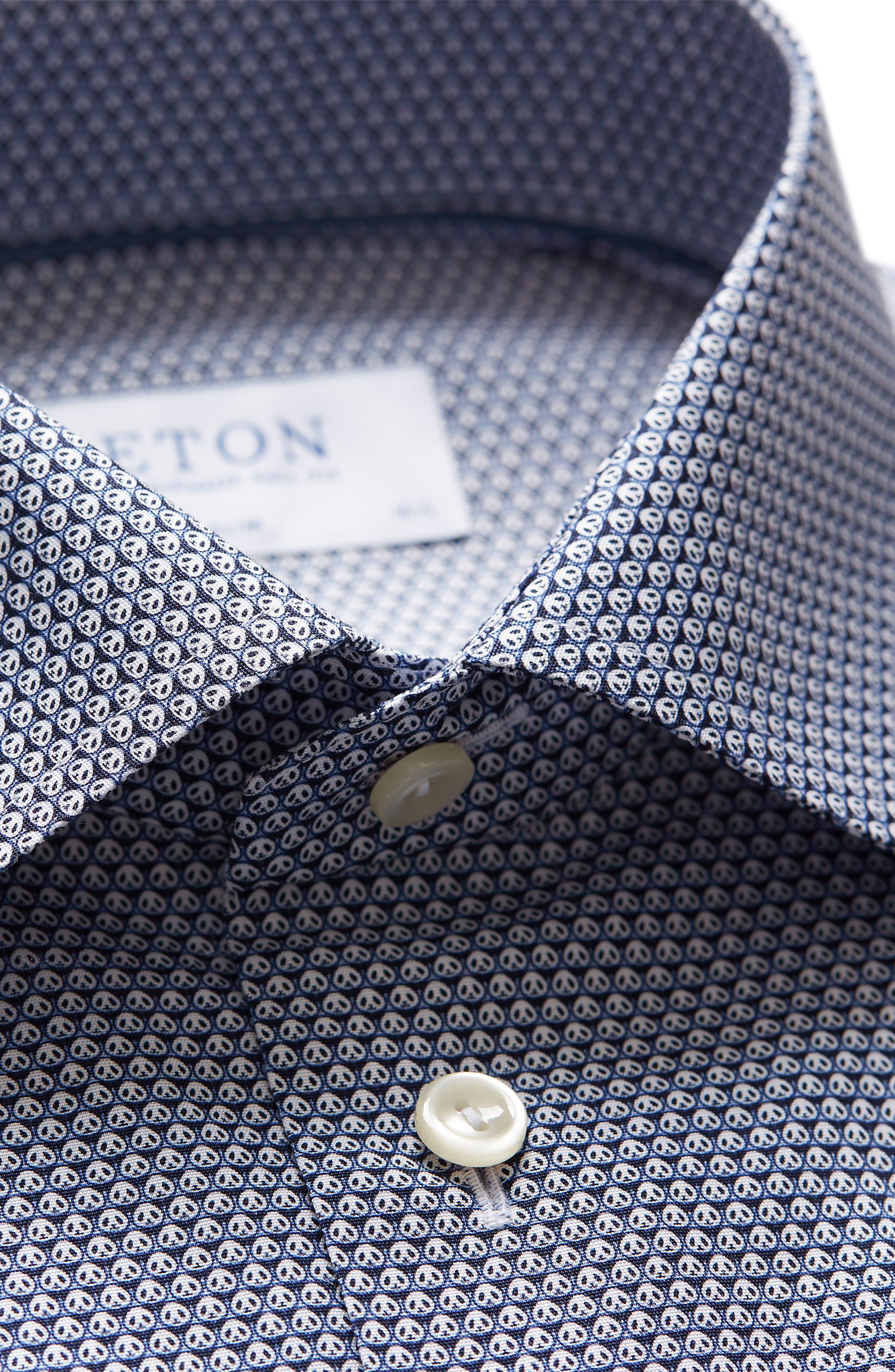 Slim Fit Panda Print Dress Shirt,                             Alternate thumbnail 3, color,                             BLUE