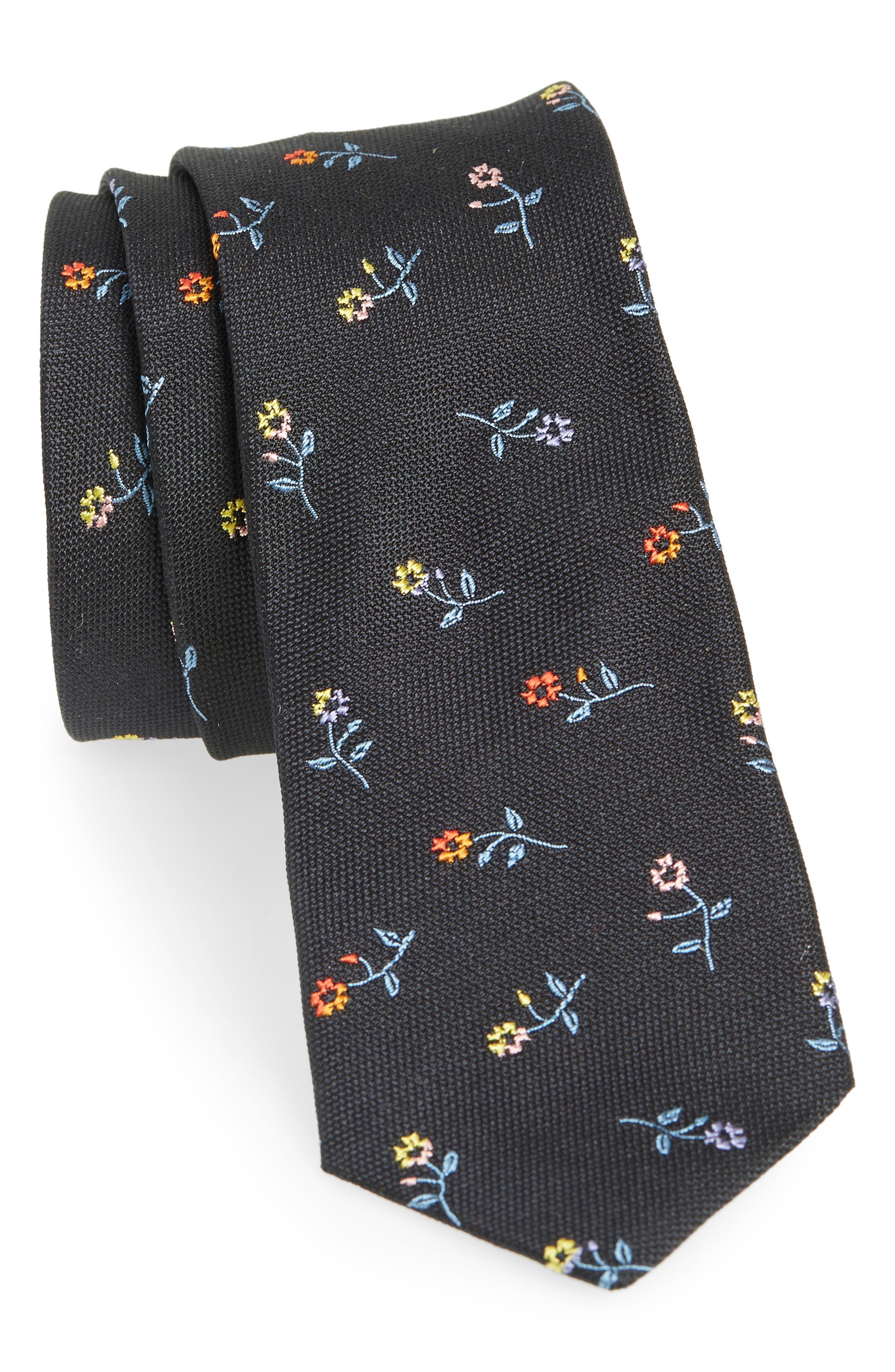Classic Flower Silk Skinny Tie,                             Main thumbnail 1, color,                             BLACK