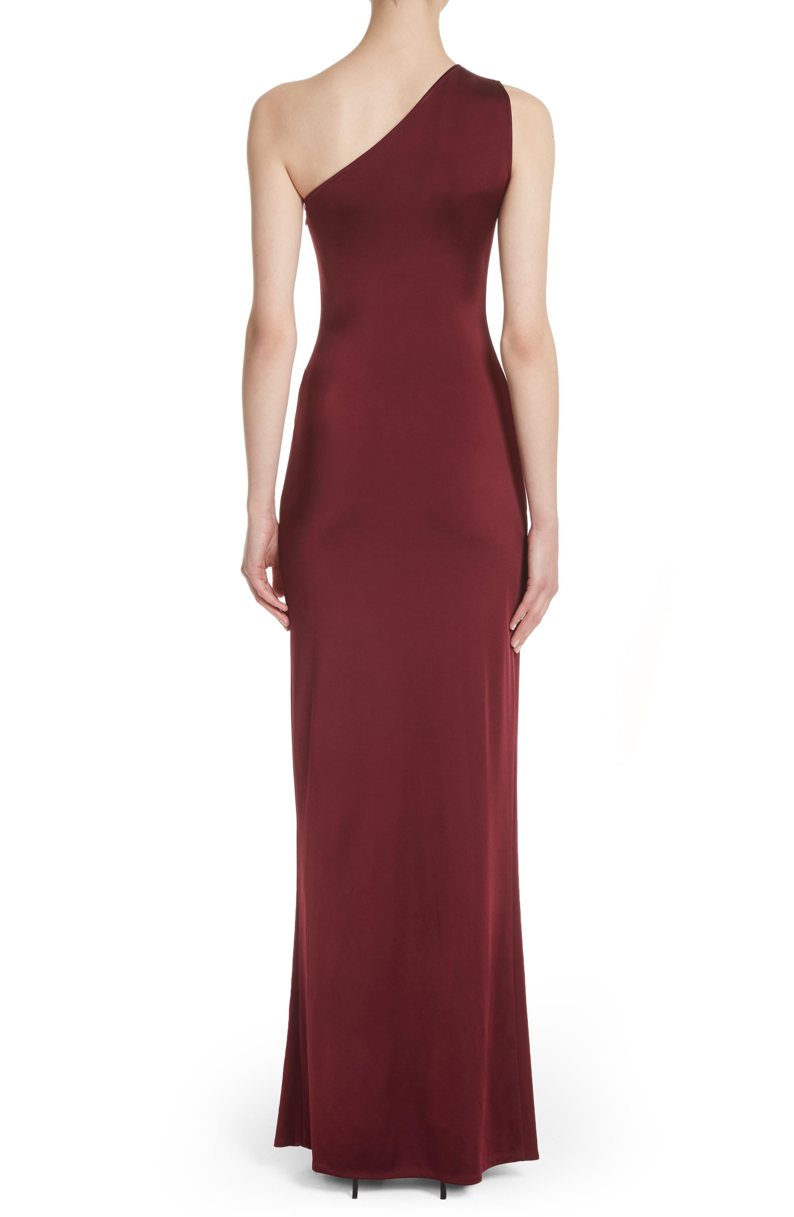 One-Shoulder Twist Gown,                             Alternate thumbnail 2, color,                             AUBURN