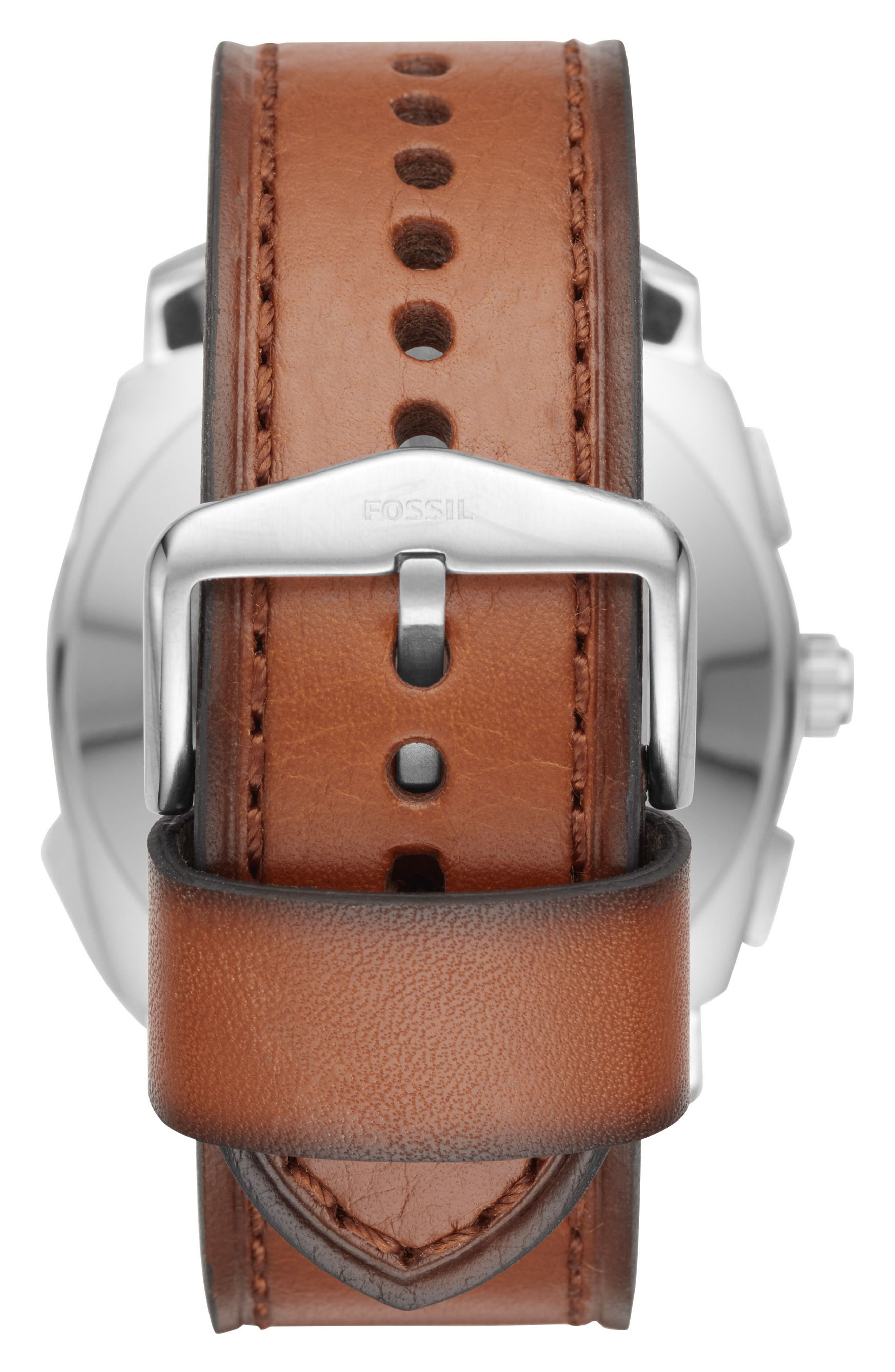 Machine Leather Strap Hybrid Smart Watch, 45mm,                             Alternate thumbnail 2, color,                             200