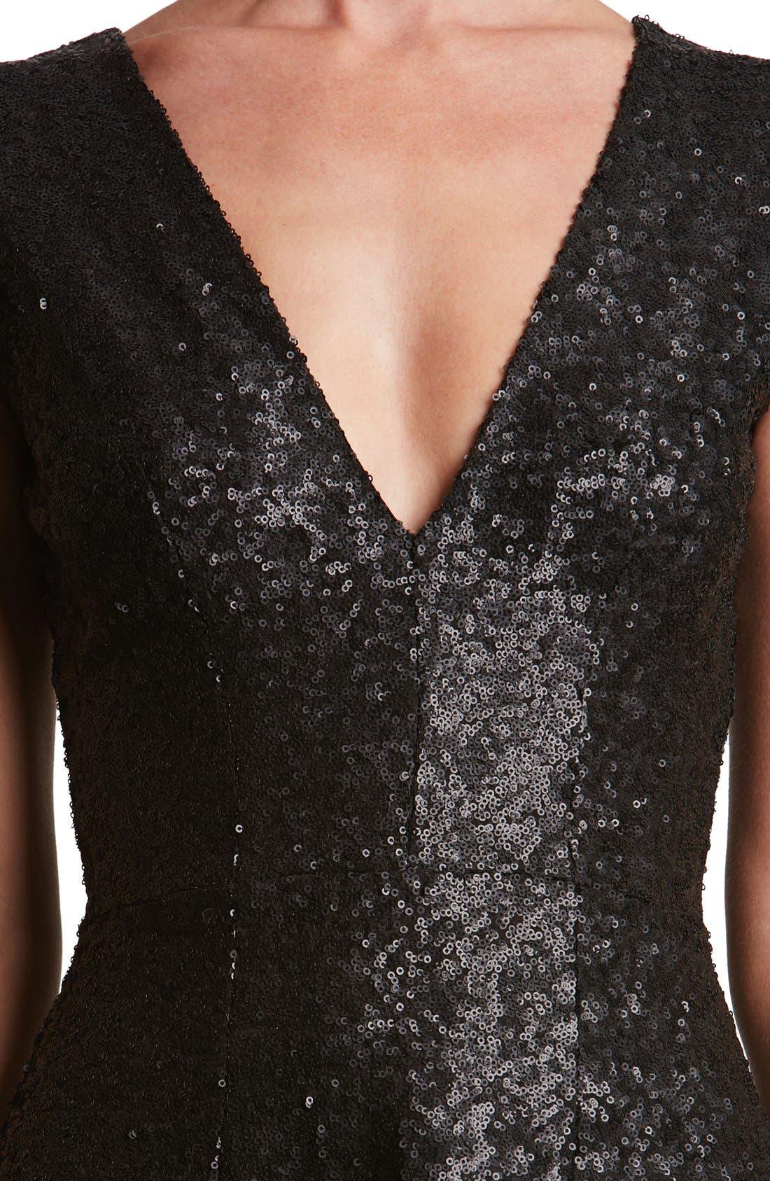 Georgina Sequin Fit & Flare Dress,                             Alternate thumbnail 5, color,                             001
