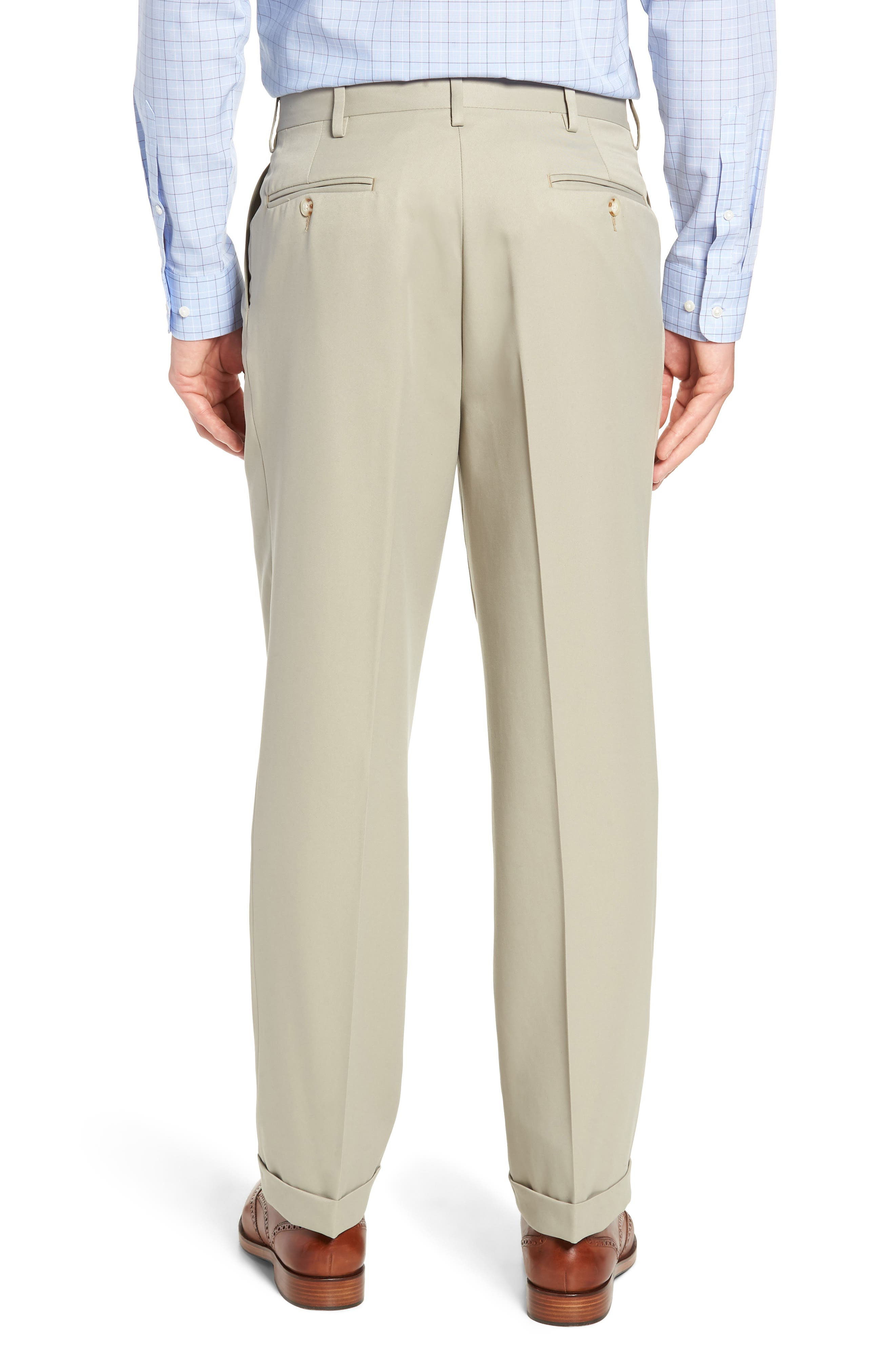 Classic Fit Pleated Microfiber Performance Trousers,                             Alternate thumbnail 2, color,                             TAUPE