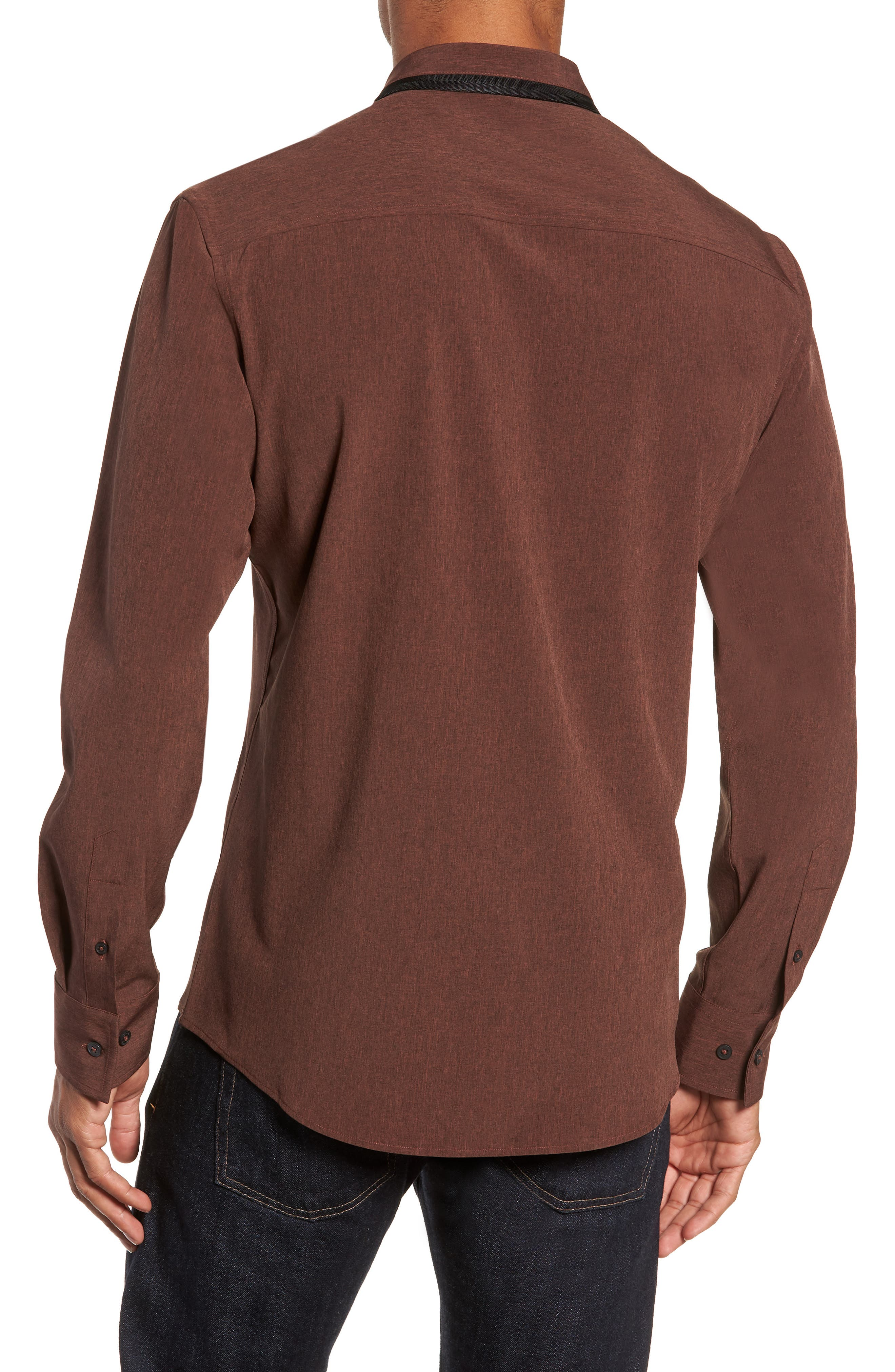 Long Sleeve Performance Sport Shirt,                             Alternate thumbnail 3, color,                             HENNA SCRATCH