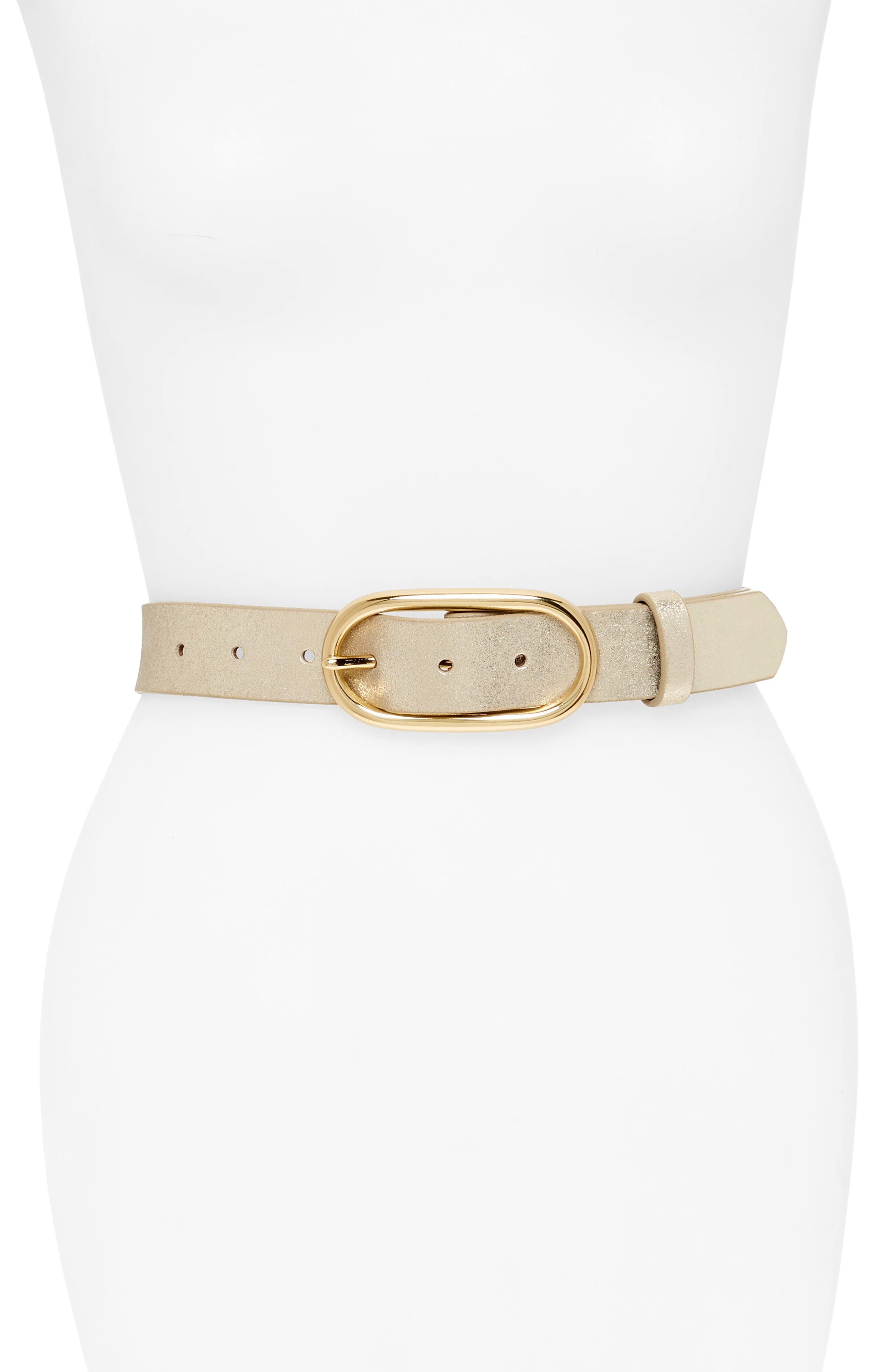 Treasure & Bond Metallic Leather Belt, Gold