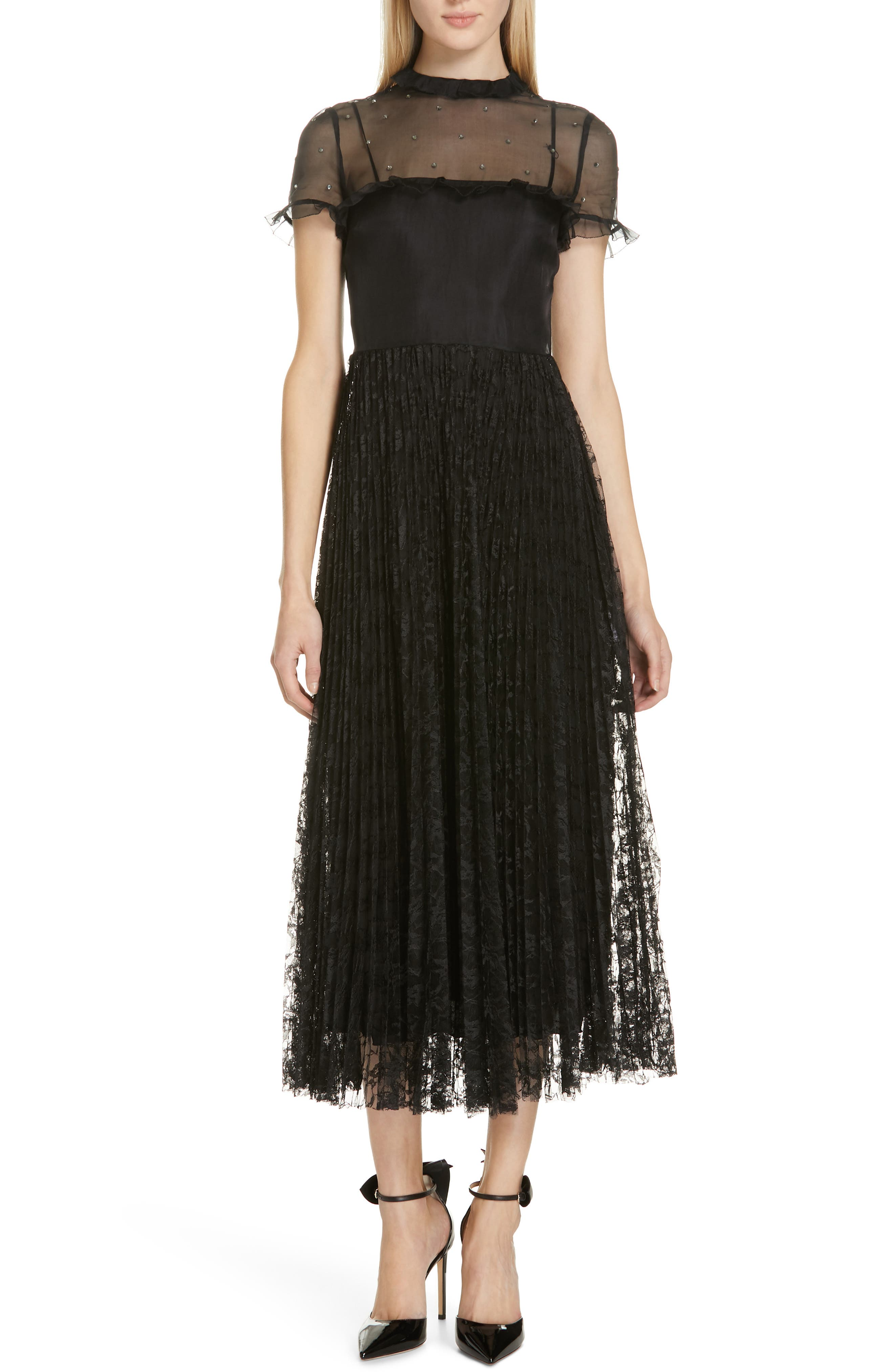Red Valentino Studded Yoke Lace Skirt Maxi Dress, US / 46 IT - Black