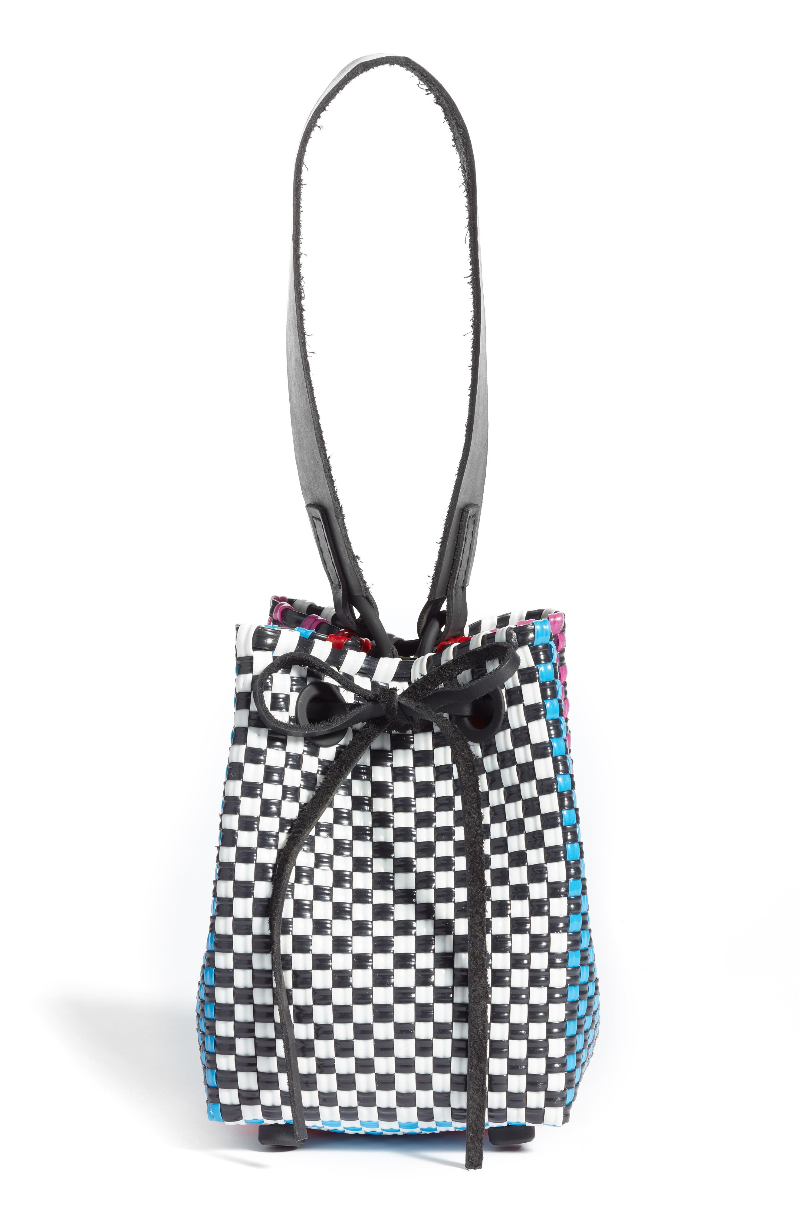 Party Woven Bucket Bag,                         Main,                         color, FUCHSIA/ RED