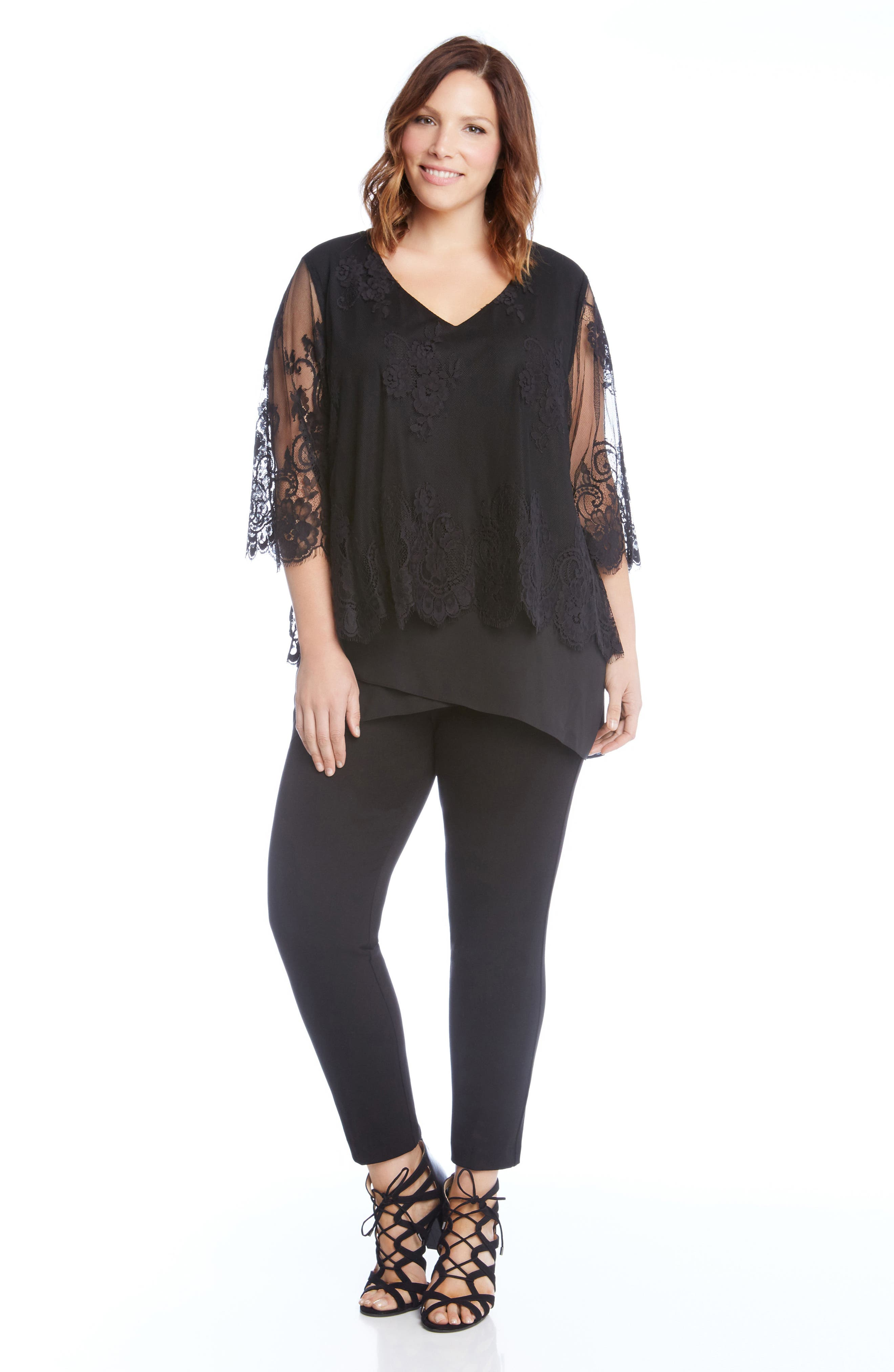 Lace Overlay Asymmetrical Top,                             Alternate thumbnail 3, color,                             001