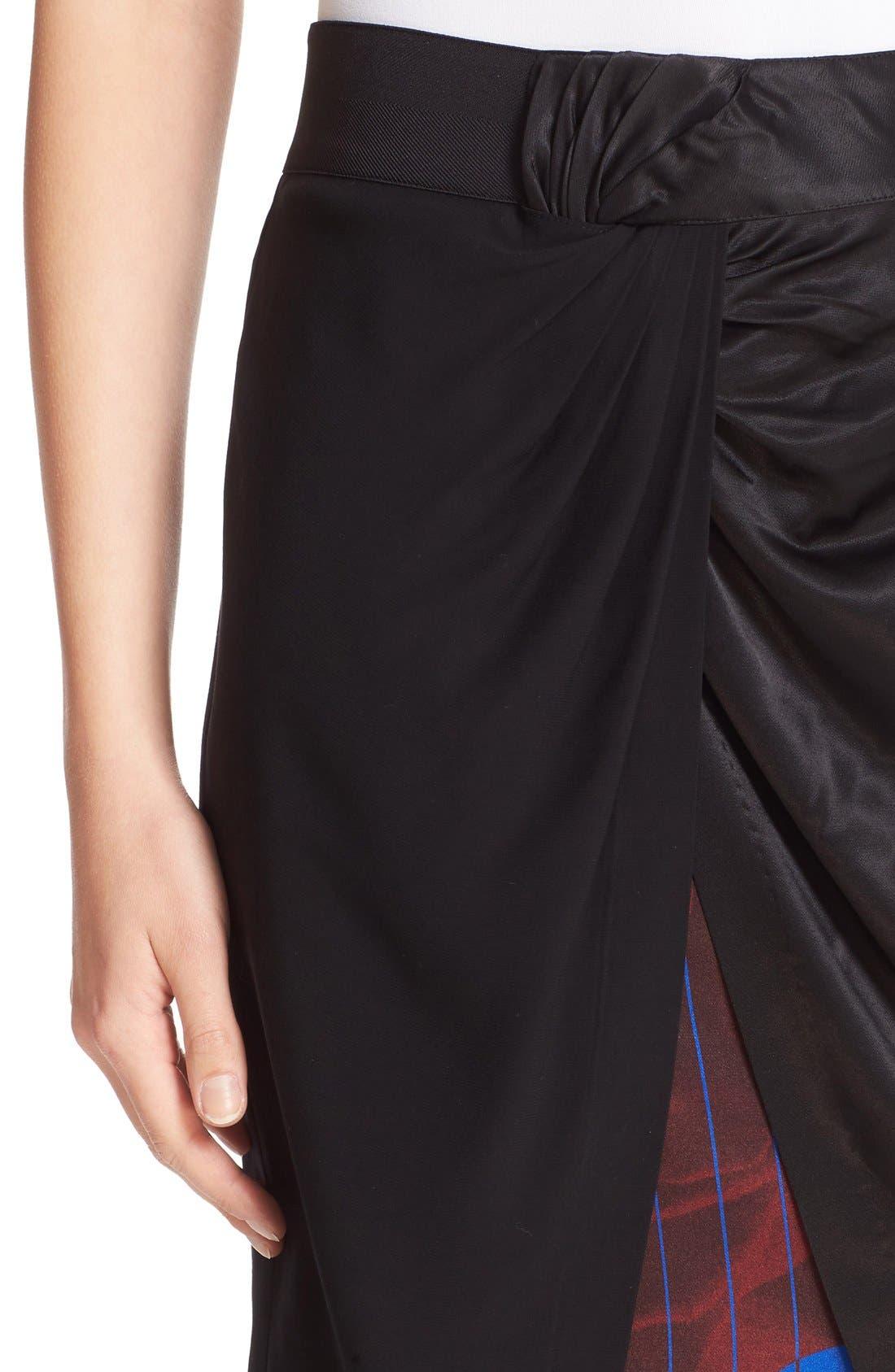 Asymmetrical Mixed Media Skirt,                             Alternate thumbnail 6, color,                             001