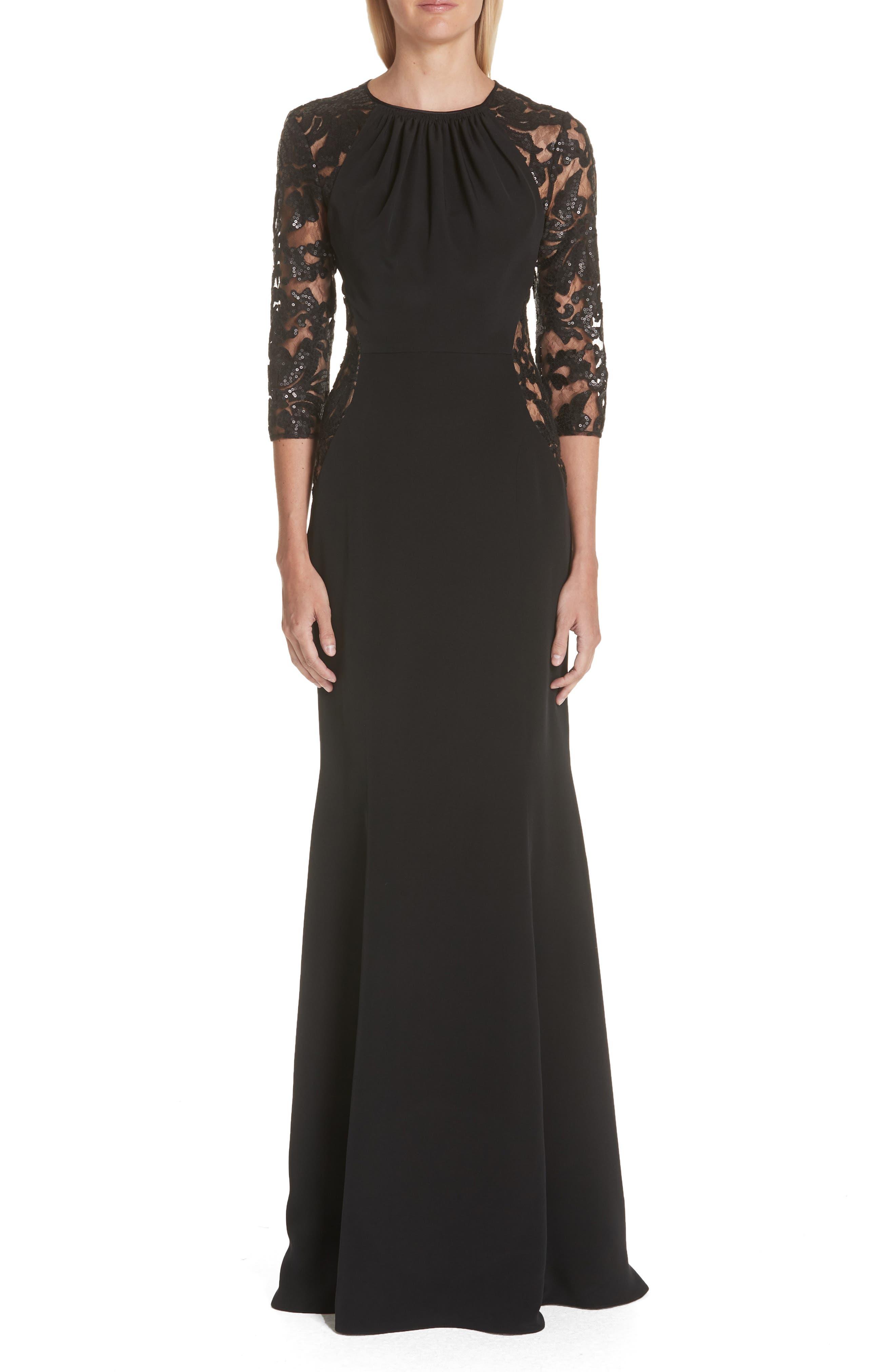 Verdin Crepe Silk Trumpet Gown, Black