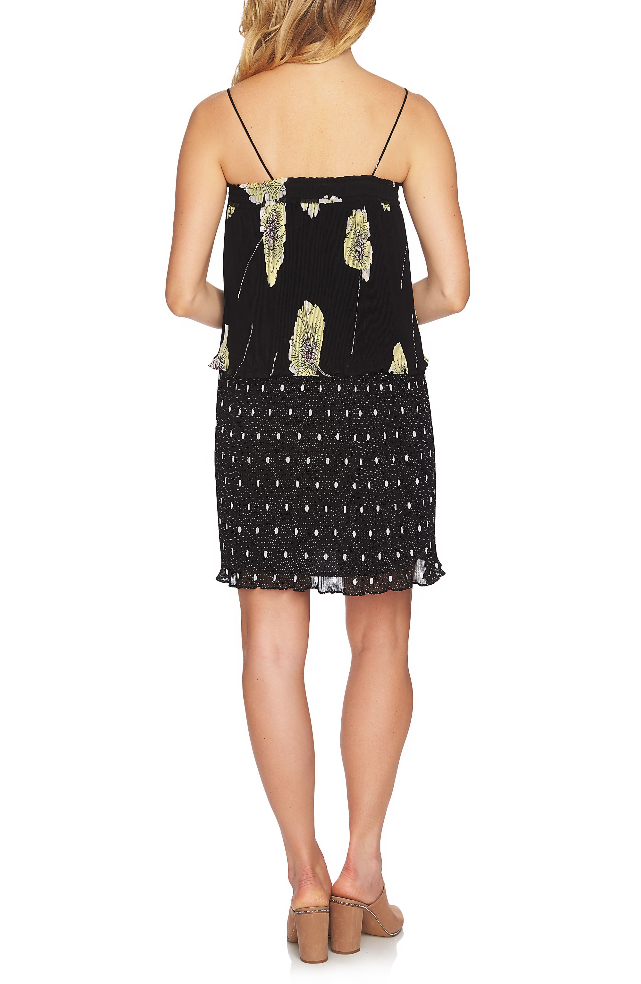 Mixed Print Pleated Shift Dress,                             Alternate thumbnail 2, color,                             001