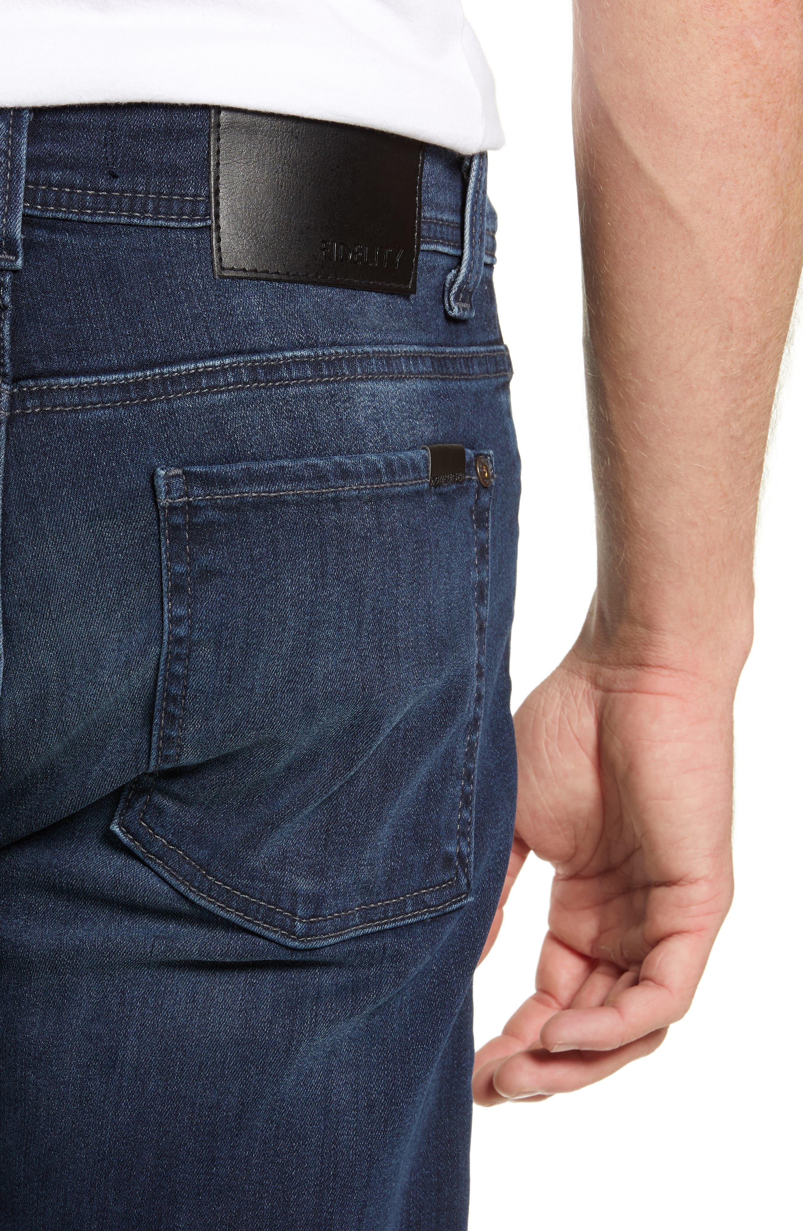 Fidelity Slim Straight Leg Jeans,                             Alternate thumbnail 4, color,                             BEL AIR BLUE