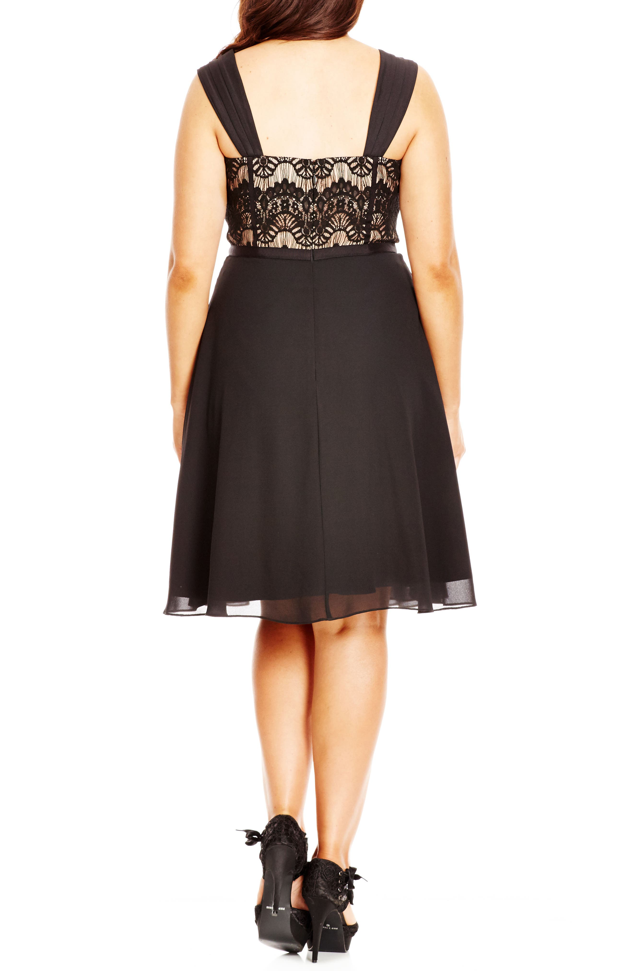 'Eyelash Evie' Lace & Chiffon Cocktail Dress,                             Alternate thumbnail 3, color,                             BLACK