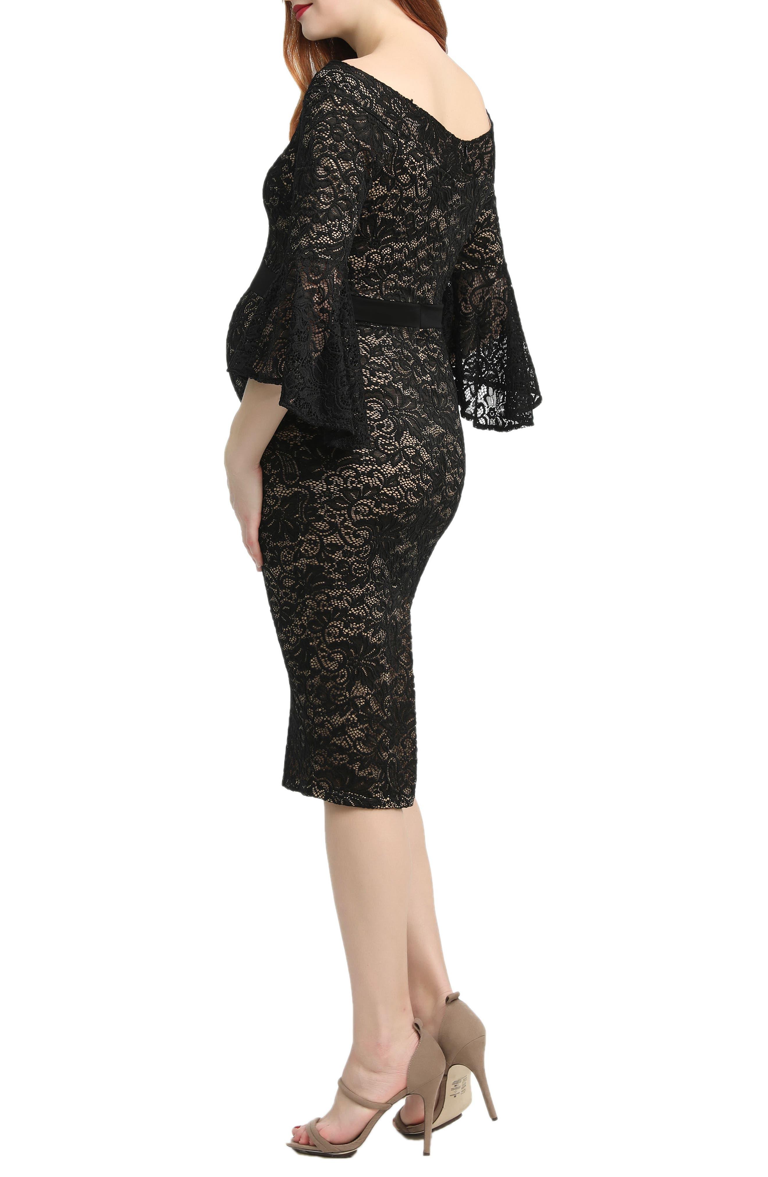 Kimi & Kai Lena Maternity Body-Con Dress,                             Alternate thumbnail 2, color,                             BLACK