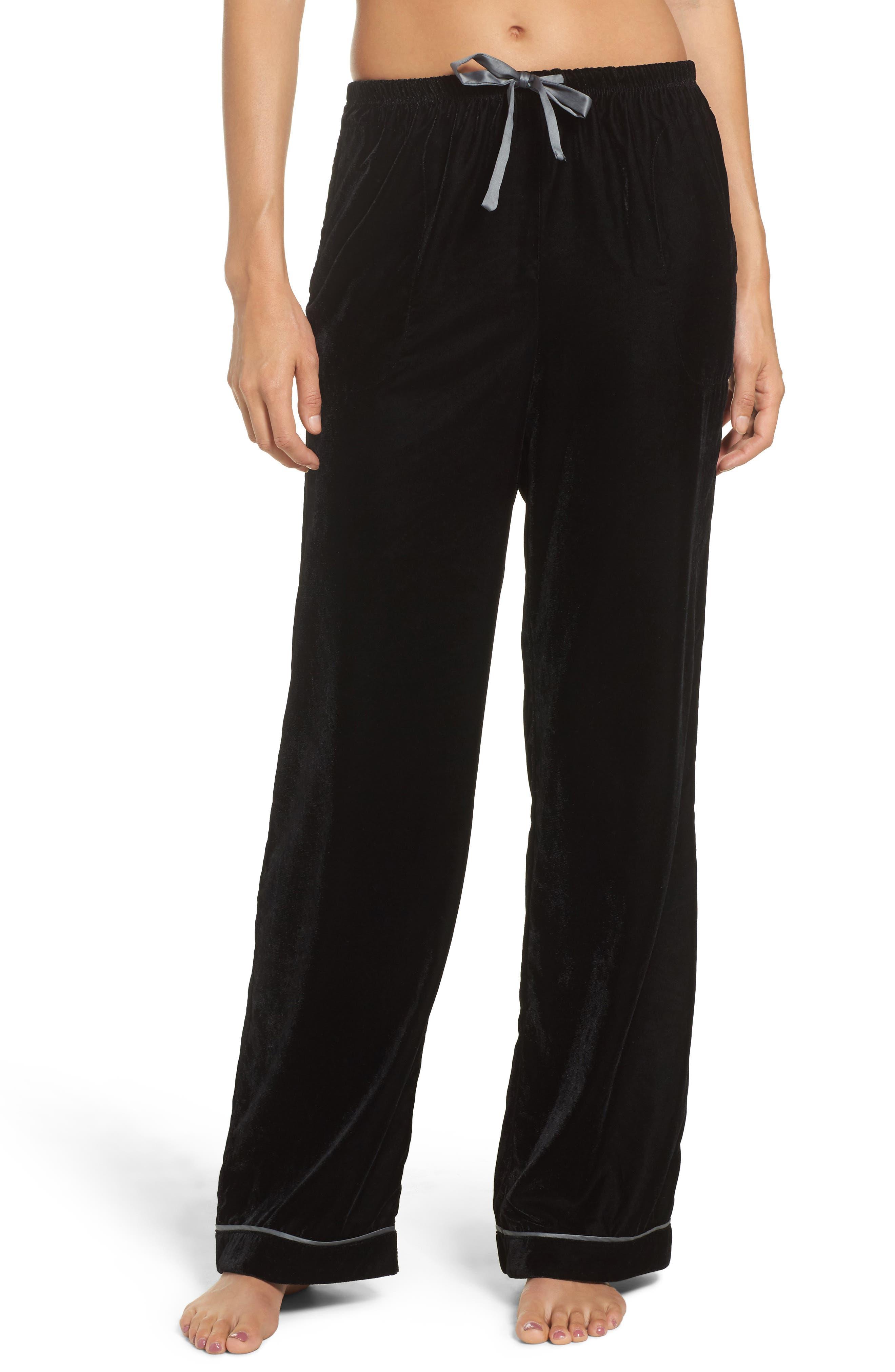 Velvet Pajama Pants,                             Main thumbnail 1, color,                             001